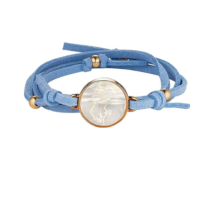 Mustique Light Blue Suede Wrap