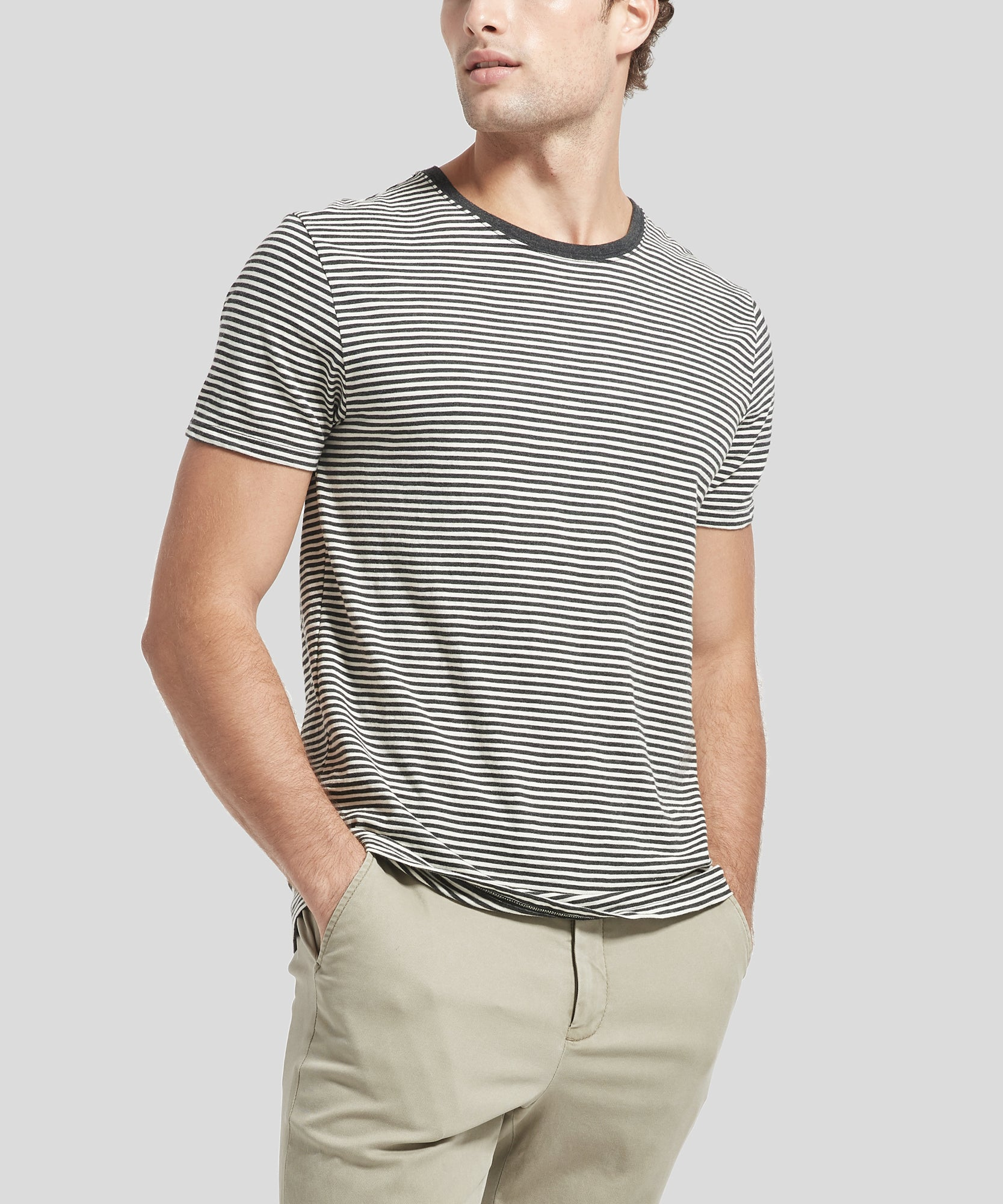 ATM Striped Crew Neck Pocket Tee