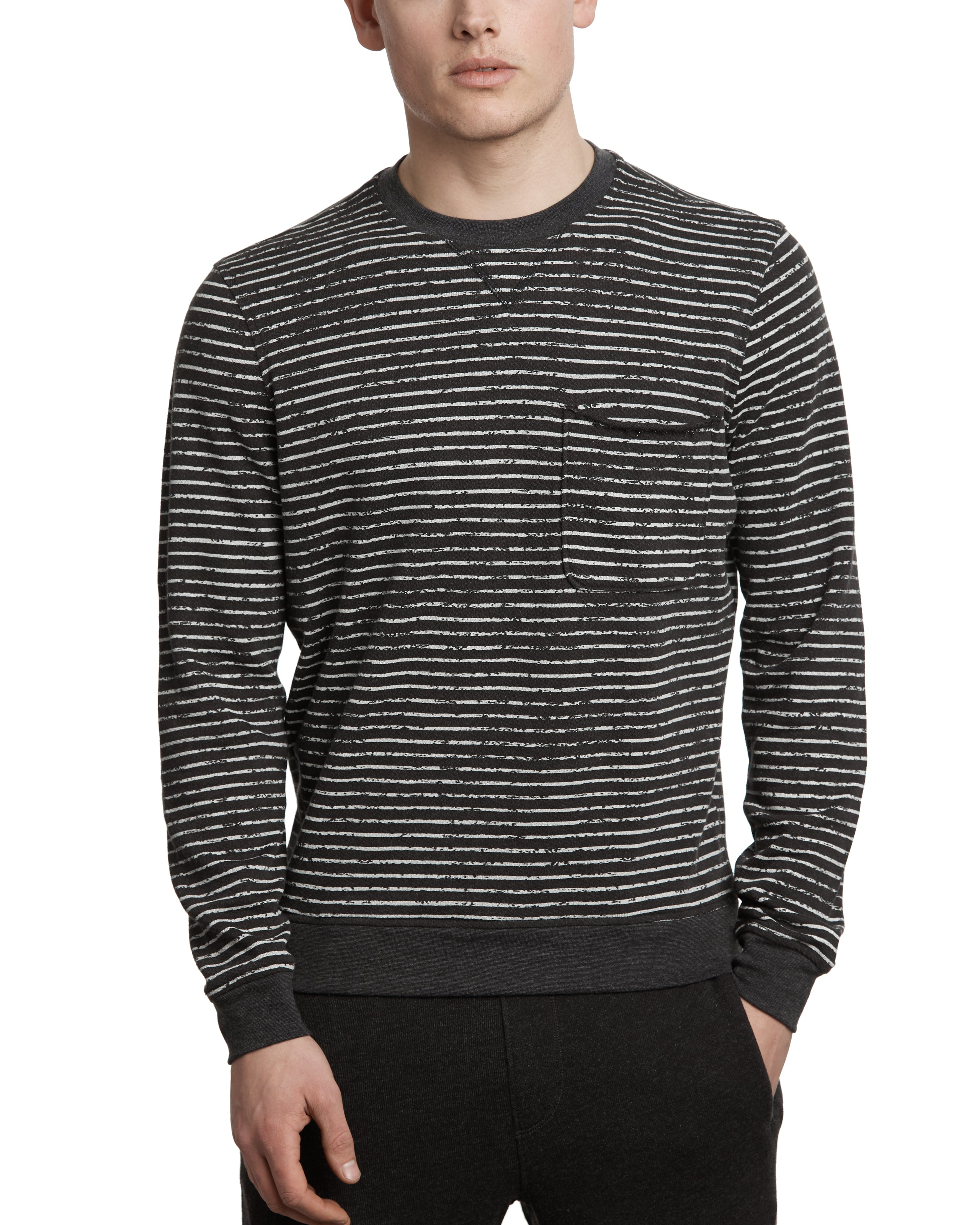 ATM Broken Stripe French Terry Sweatshirt