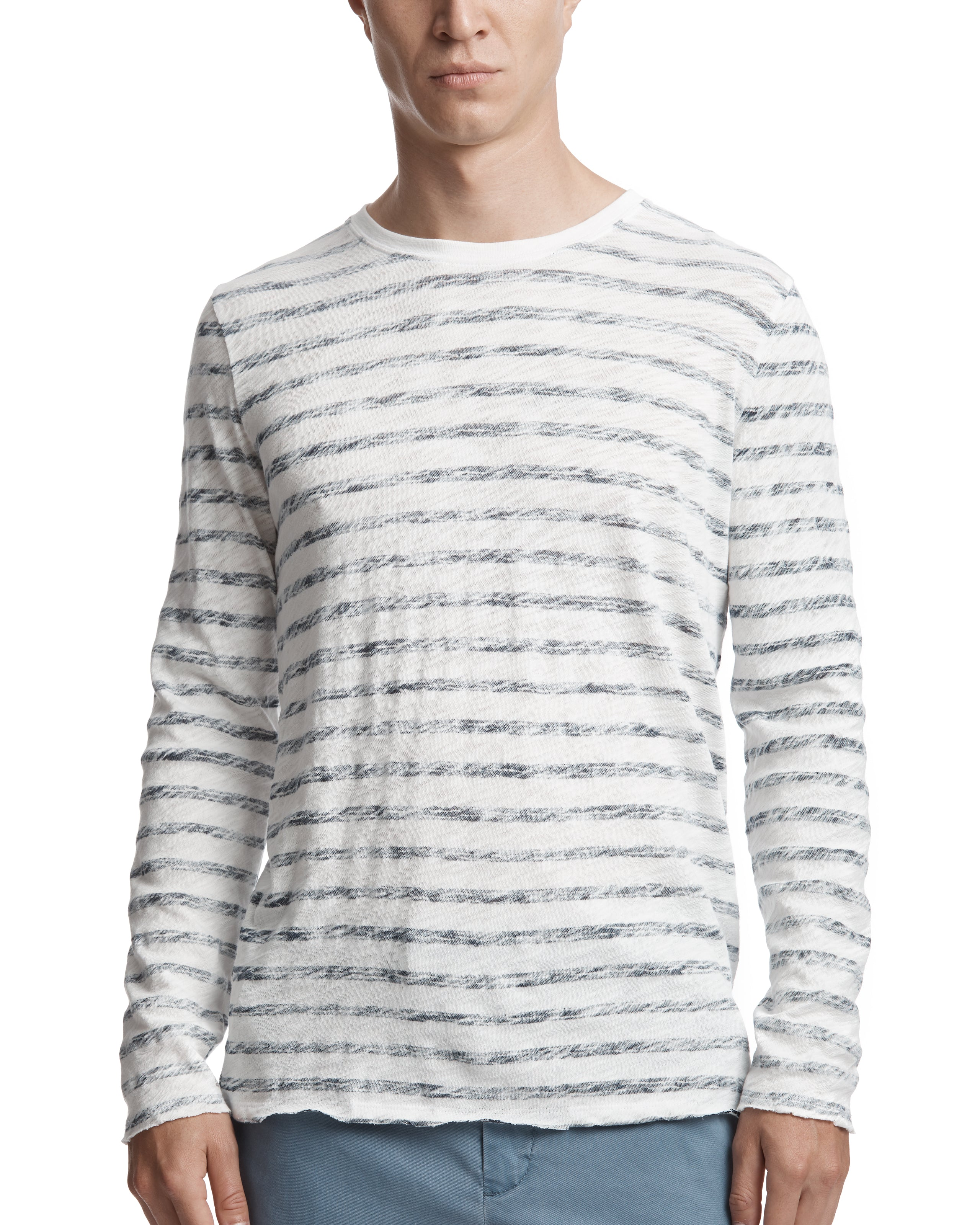 ATM Painted Stripe Slub Jersey Destroyed Wash Long Sleeve Crew
