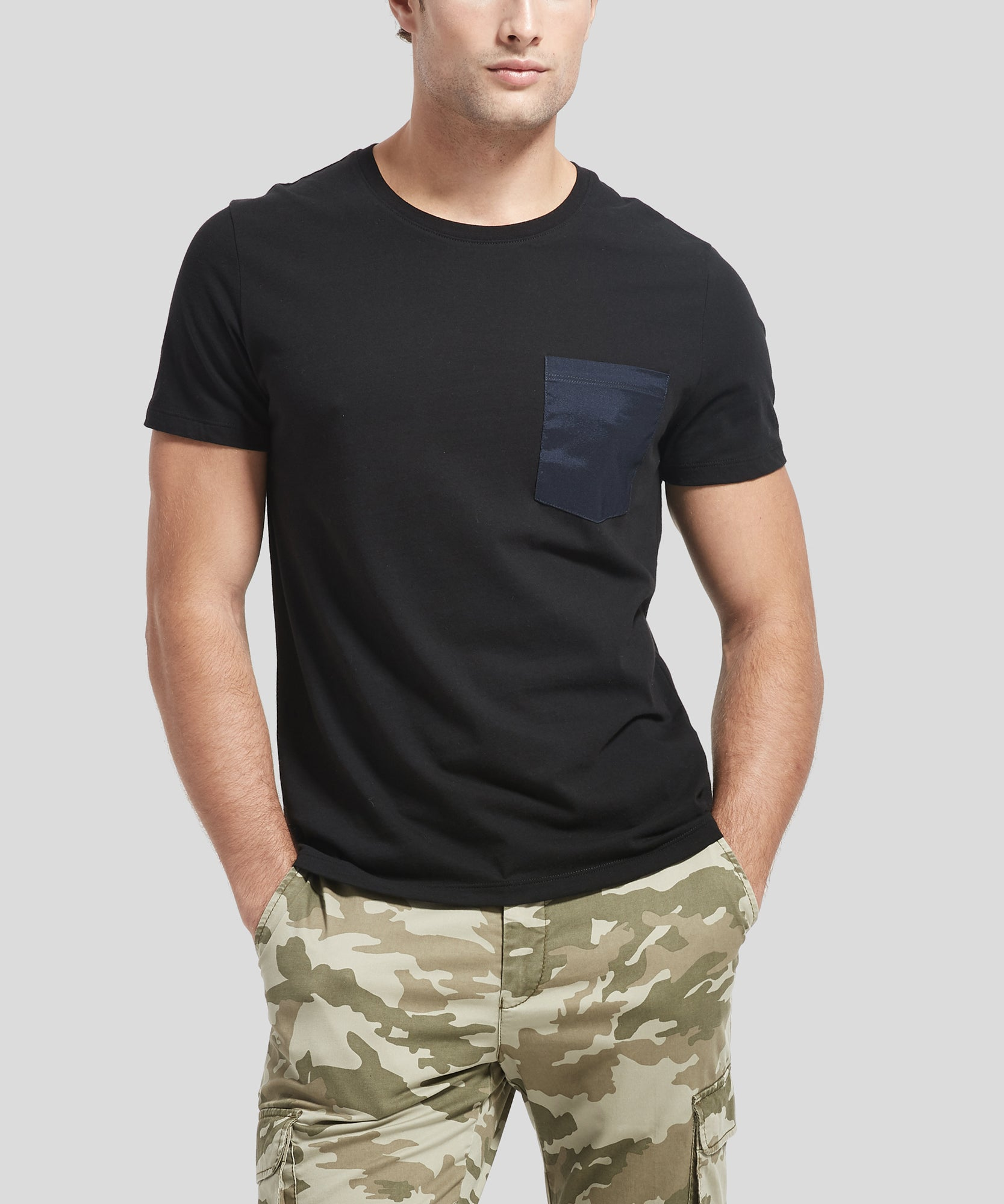 ATM Classic Jersey Crew Neck Contrast Pocket Tee