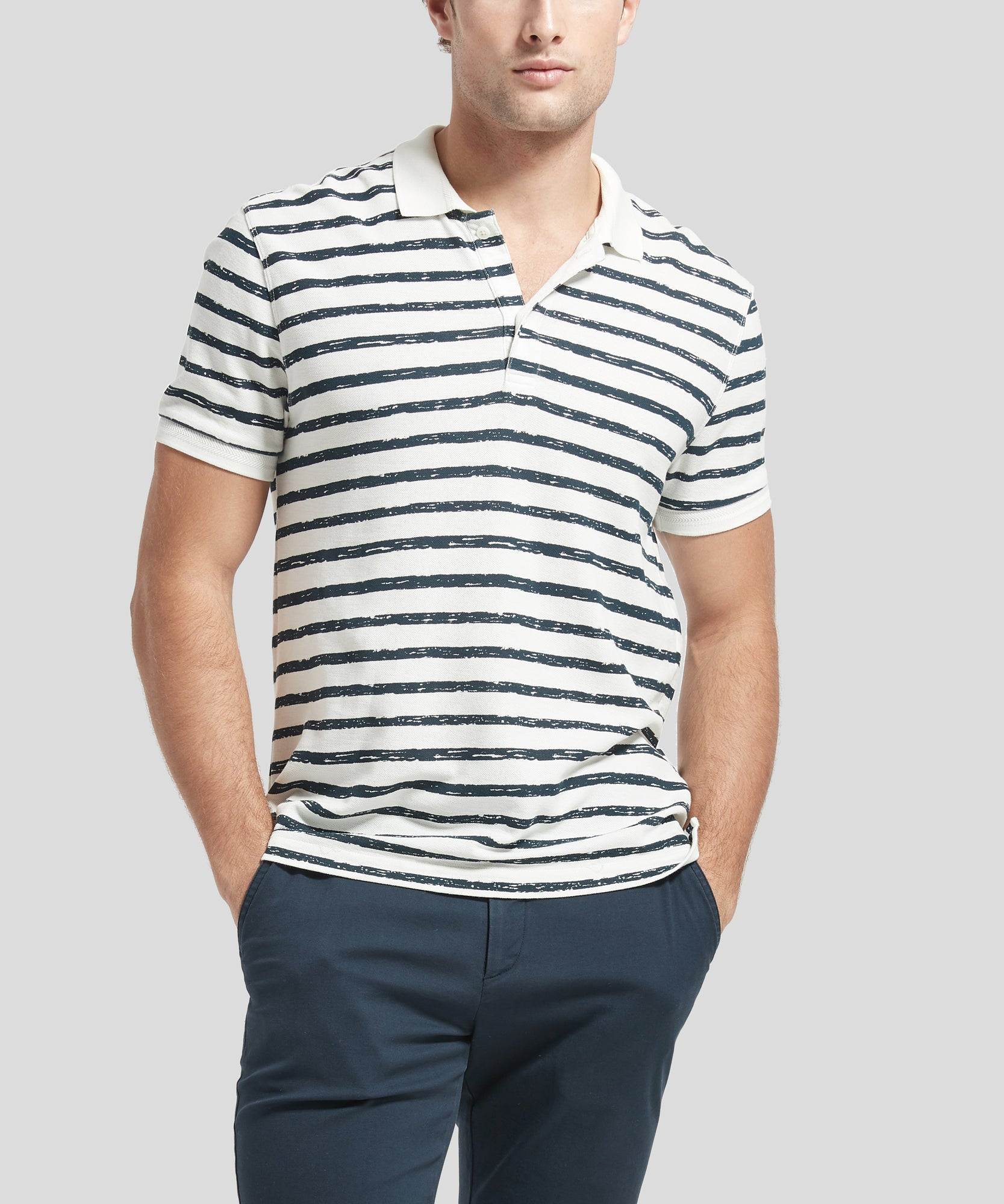 Chalk and Midnight Striped Cotton Pique Polo - Men's Polo Shirt by ATM Anthony Thomas Melillo