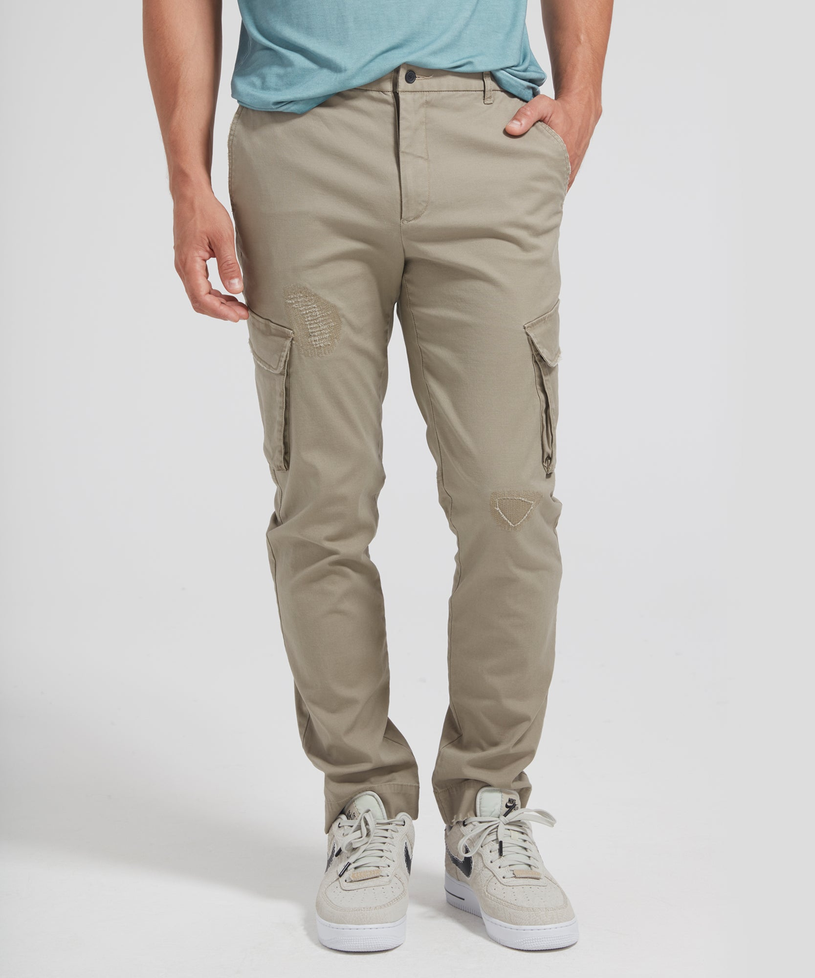 Stretch Cotton Distressed Cargo Pants
