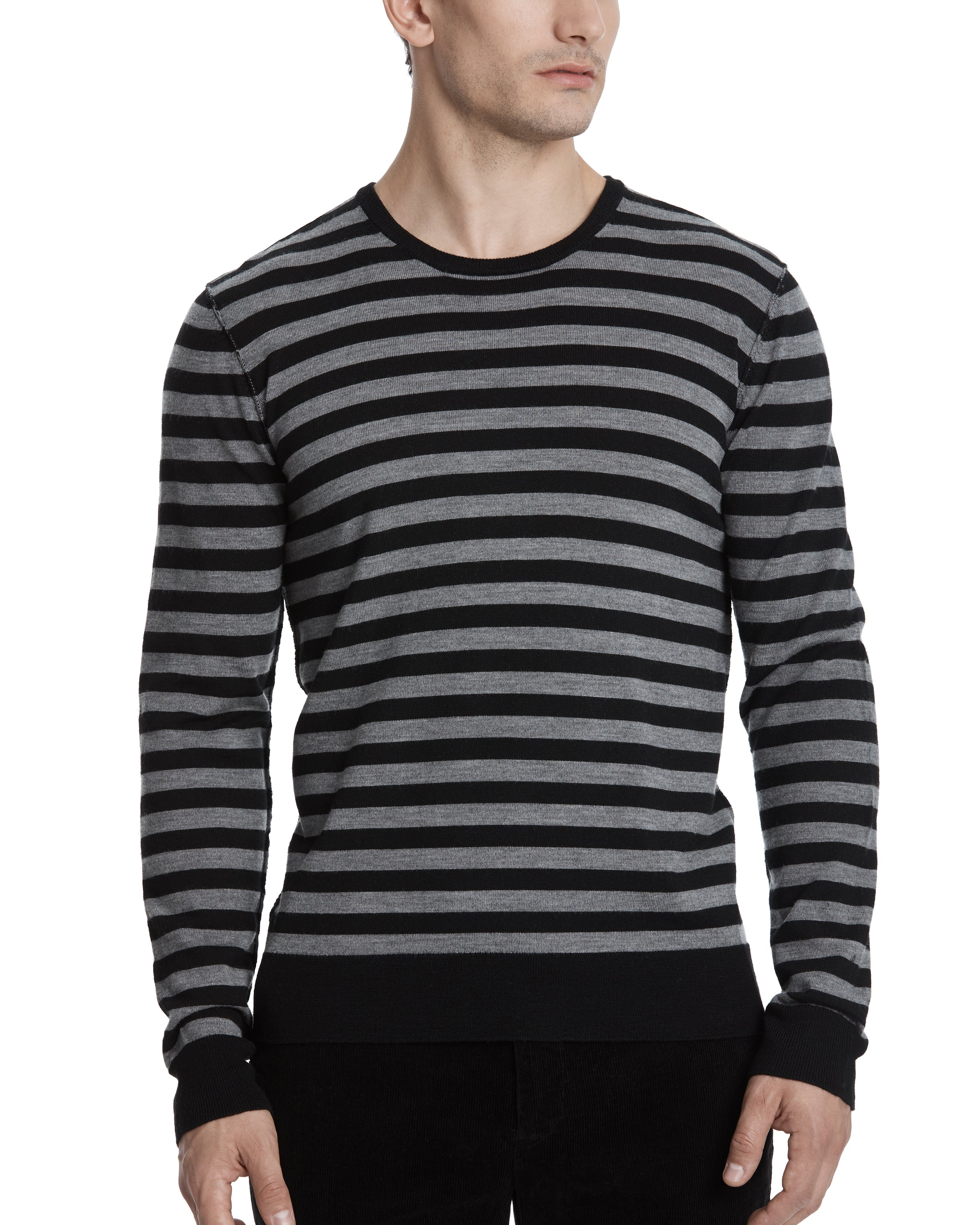 ATM Merino Wool Striped Crew Neck Sweater