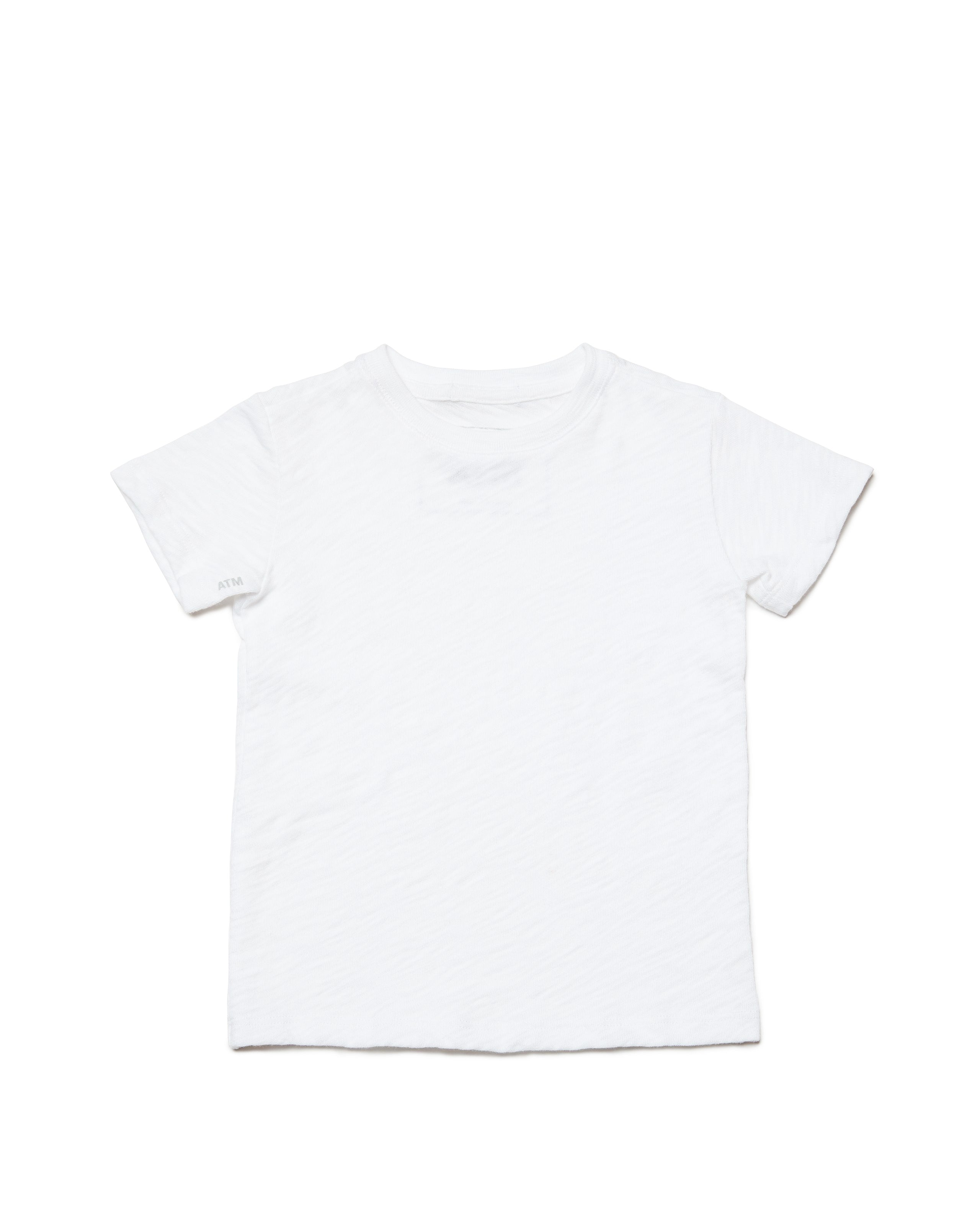 White Kids Slub Jersey Short Sleeve Tee - Kid's Cotton Short Sleeve Tee by ATM Anthony Thomas Melillo