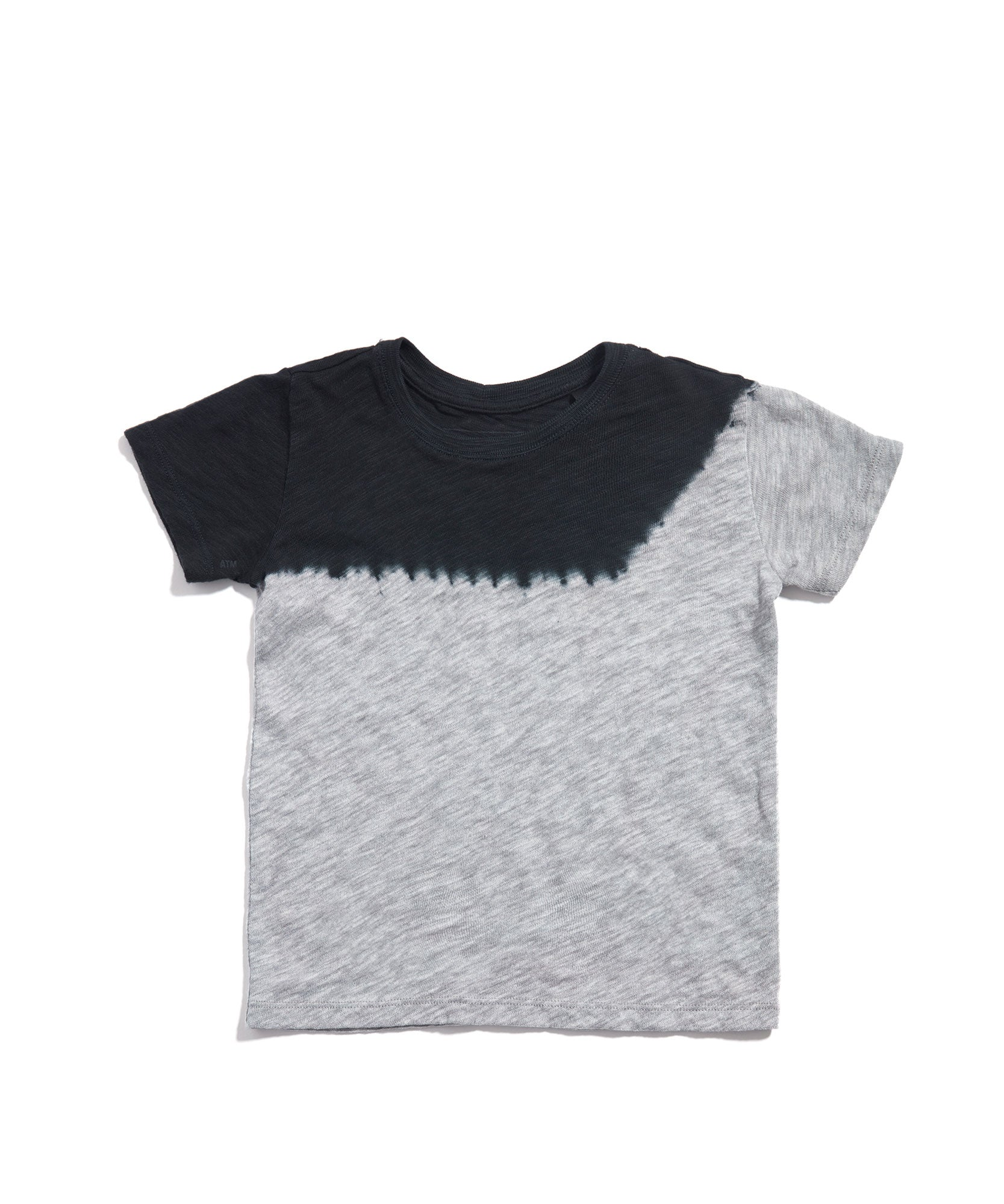 Heather Grey/ Black Dip Dye Kids Slub Jersey Short Sleeve Tee - Kid's Cotton Short Sleeve Tee by ATM Anthony Thomas Melillo