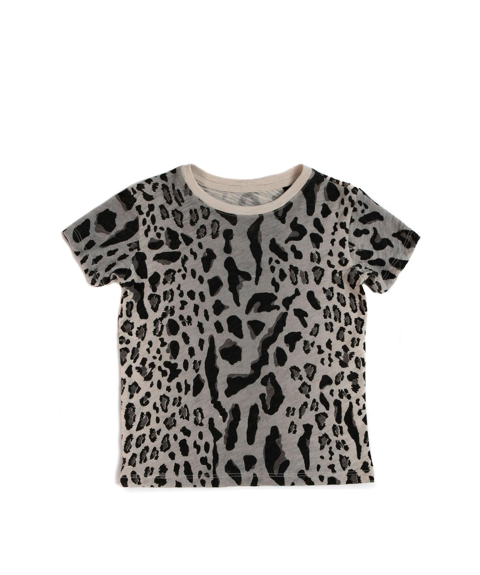 Mixed Leopard Print Kids Slub Jersey Short Sleeve Tee - Kid's Cotton Short Sleeve Tee by ATM Anthony Thomas Melillo