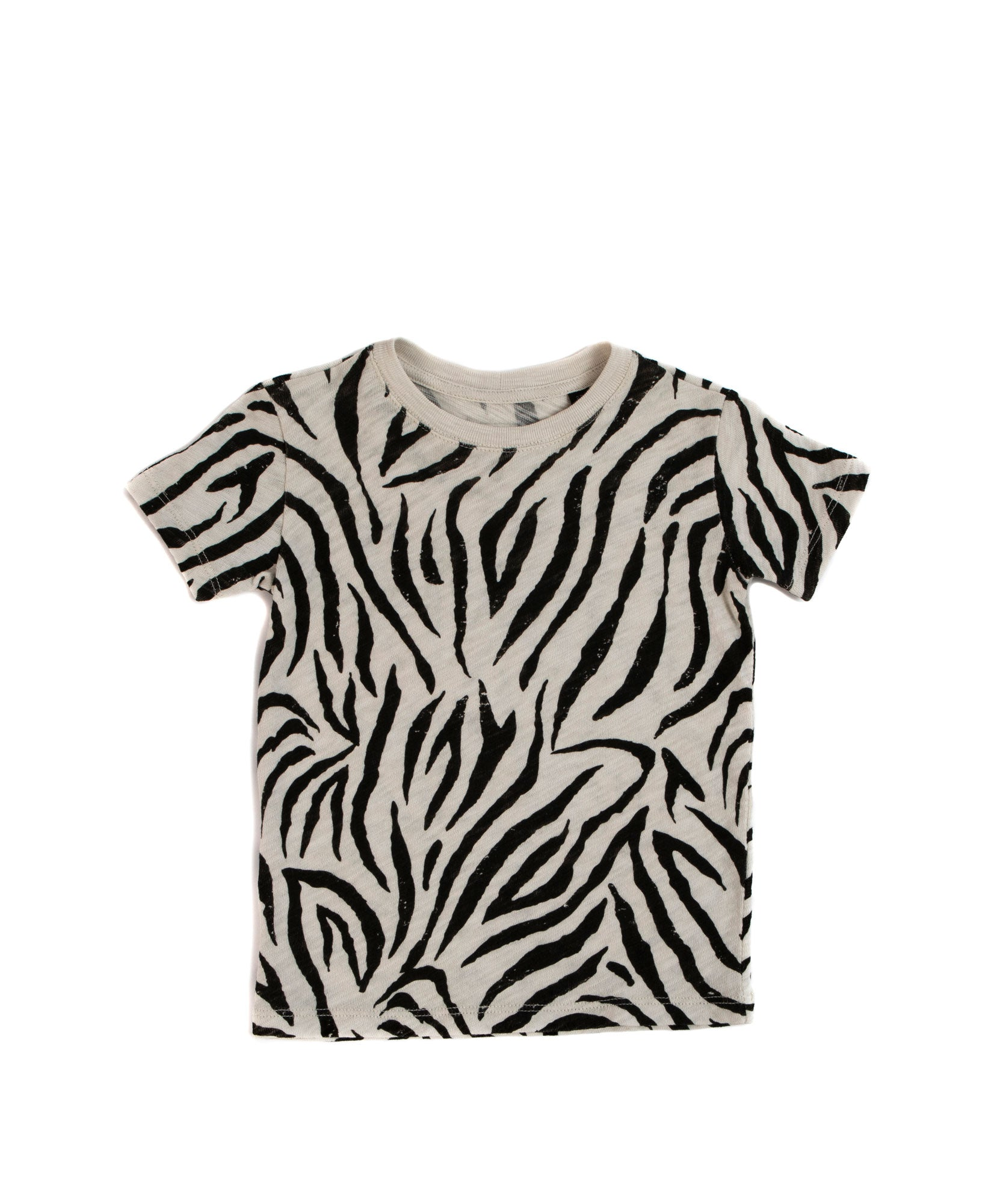 Zebra Print Kids Slub Jersey Short Sleeve Tee - Kid's Cotton Short Sleeve Tee by ATM Anthony Thomas Melillo
