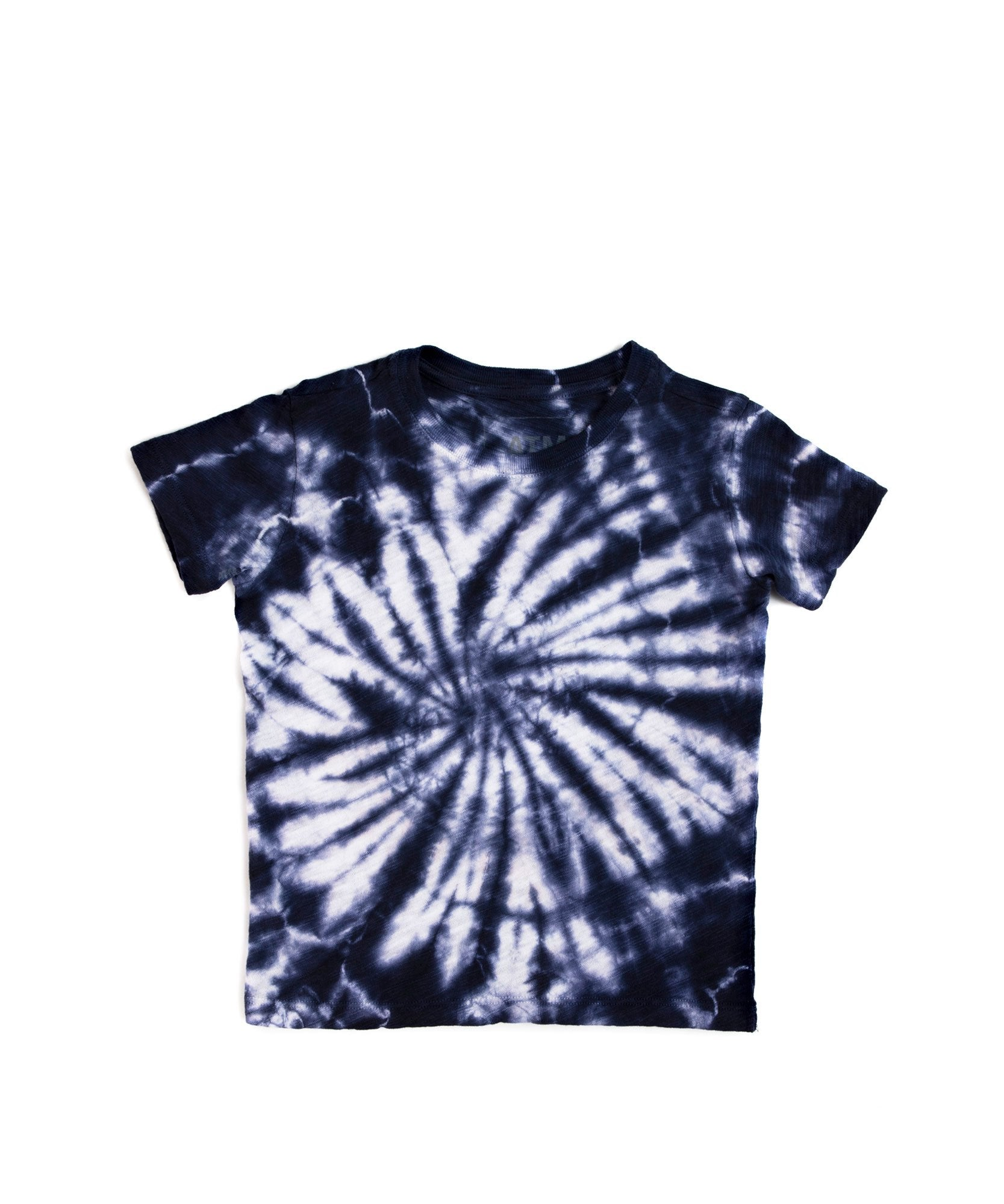 Deep Navy Tie Dye Kids Slub Jersey Short Sleeve Tee - Kid's Cotton Short Sleeve Tee by ATM Anthony Thomas Melillo
