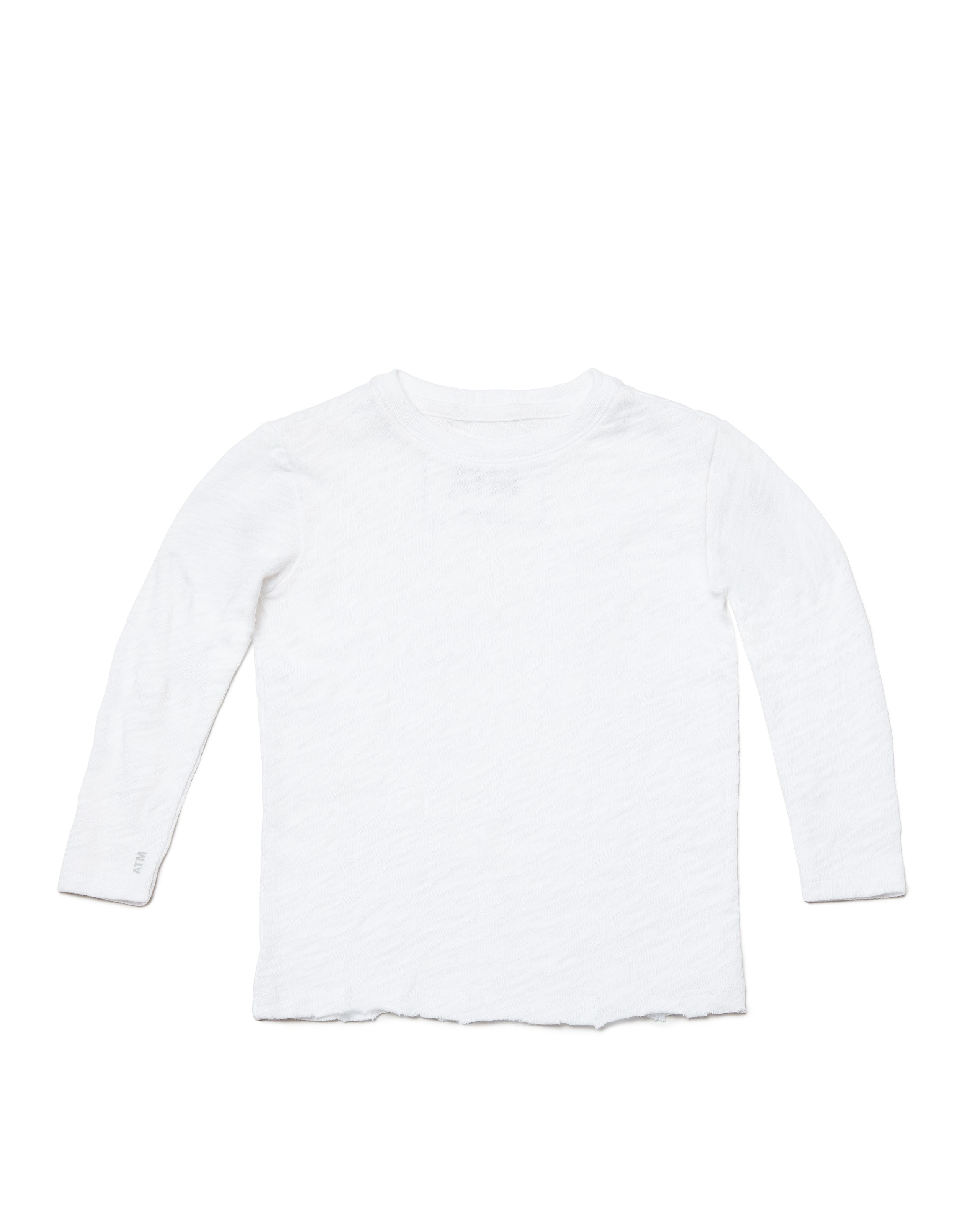 White Kids Slub Jersey Long Sleeve Tee - Kid's Cotton Long Sleeve Tee by ATM Anthony Thomas Melillo
