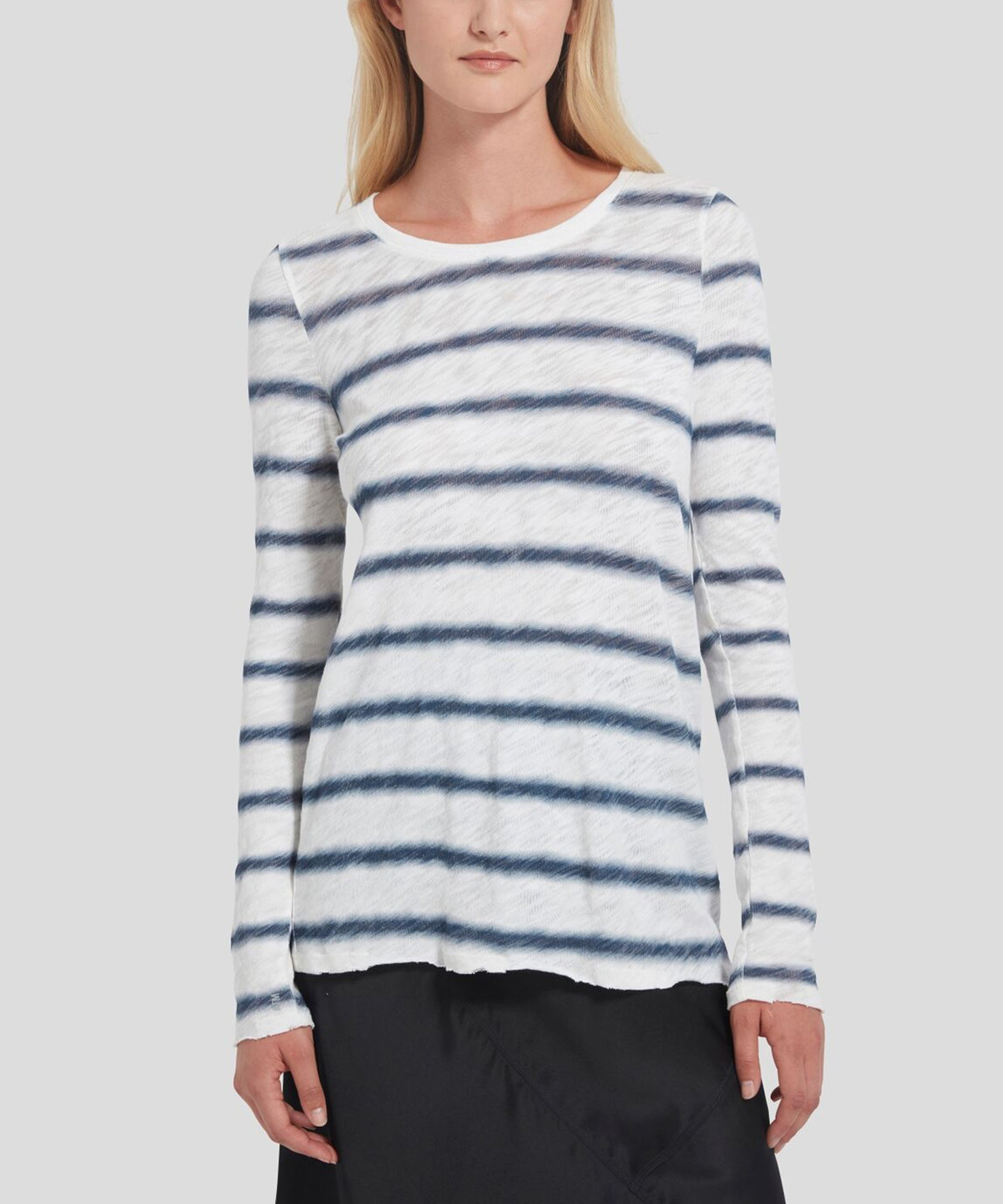 ATM Watermark Stripe Slub Jersey Long Sleeve Destroyed Wash Tee