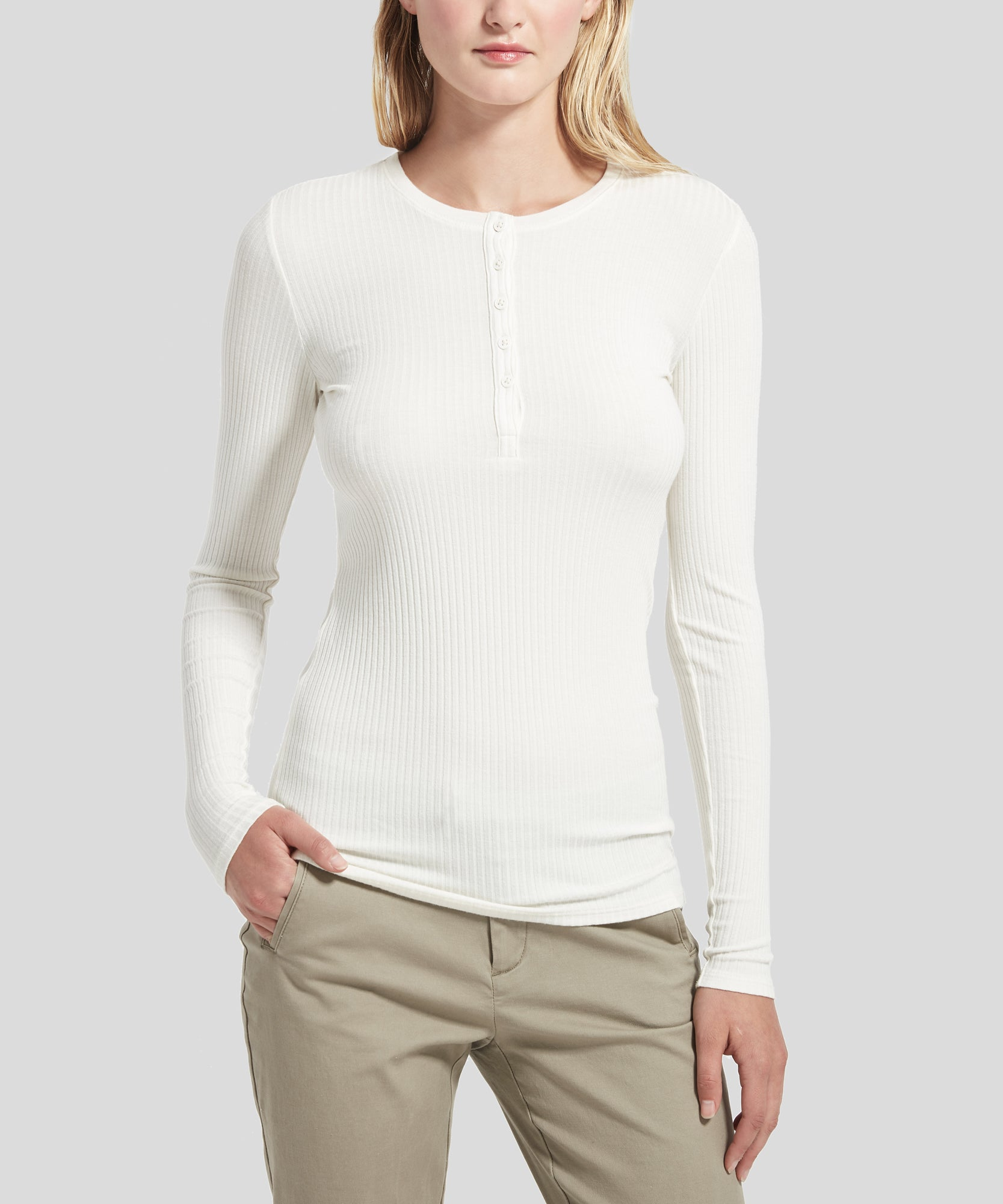 ATM Modal Wide Rib Long Sleeve Henley