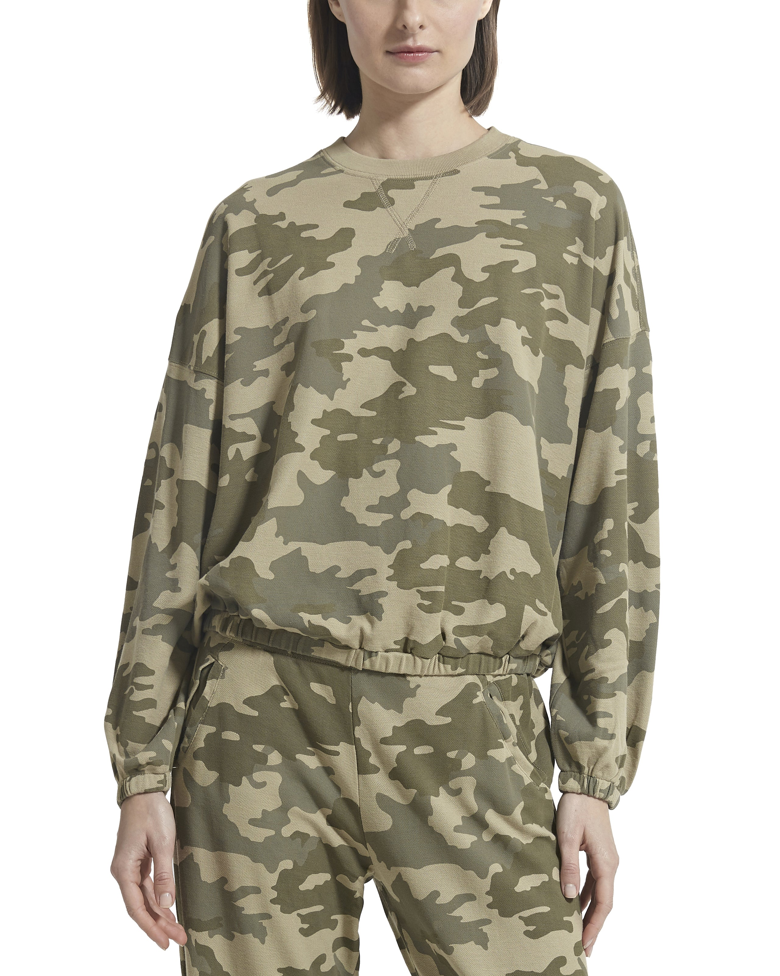 Camo Pique Dropped Shoulder Pullover