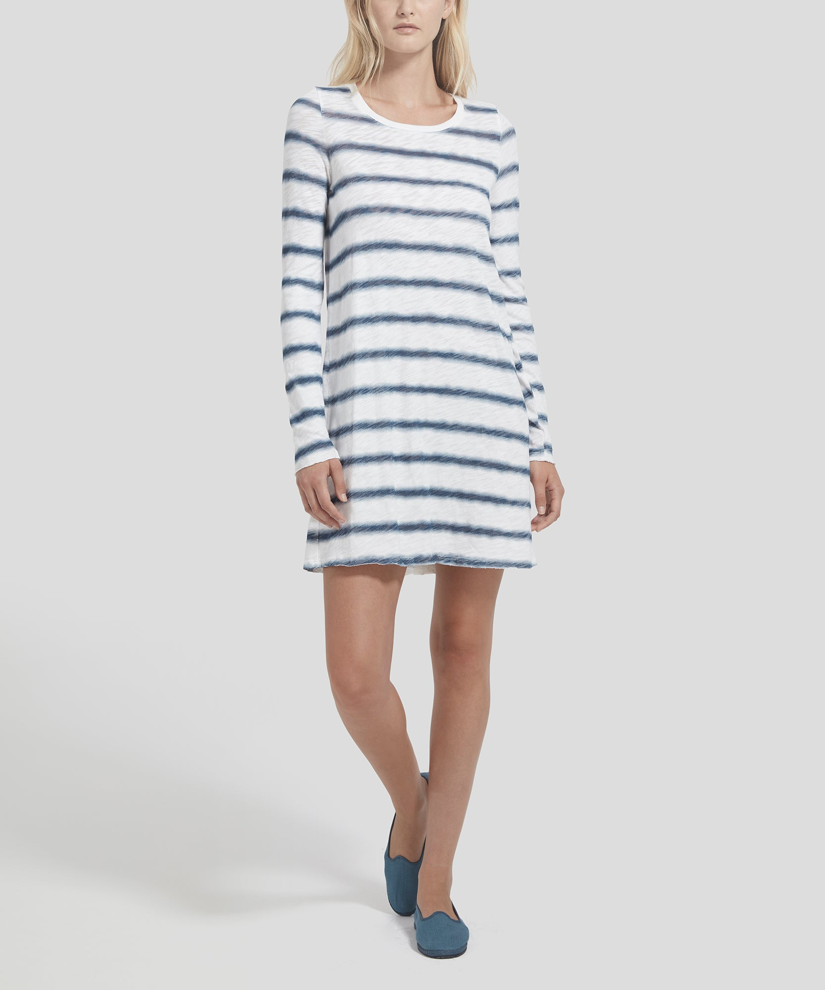 ATM Watermark Stripe Slub Jersey Destroyed Wash Tee Dress