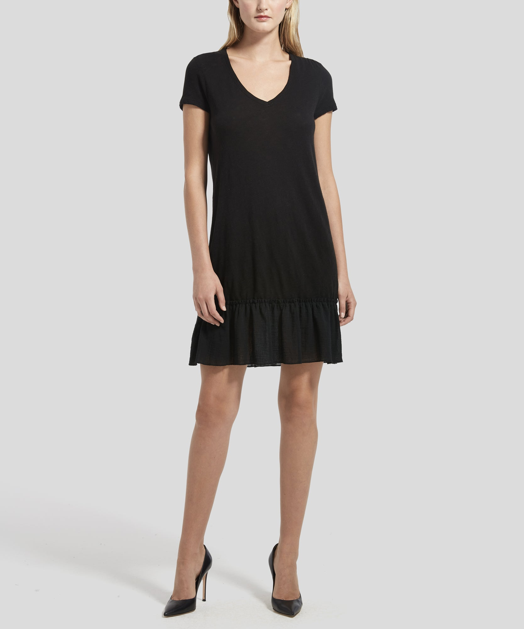 ATM Ruffle Hem Slub Jersey Dress