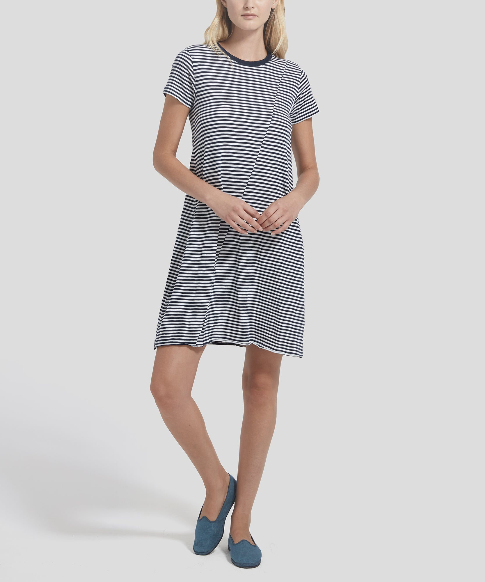 ATM Striped Jersey Short Sleeve Dress