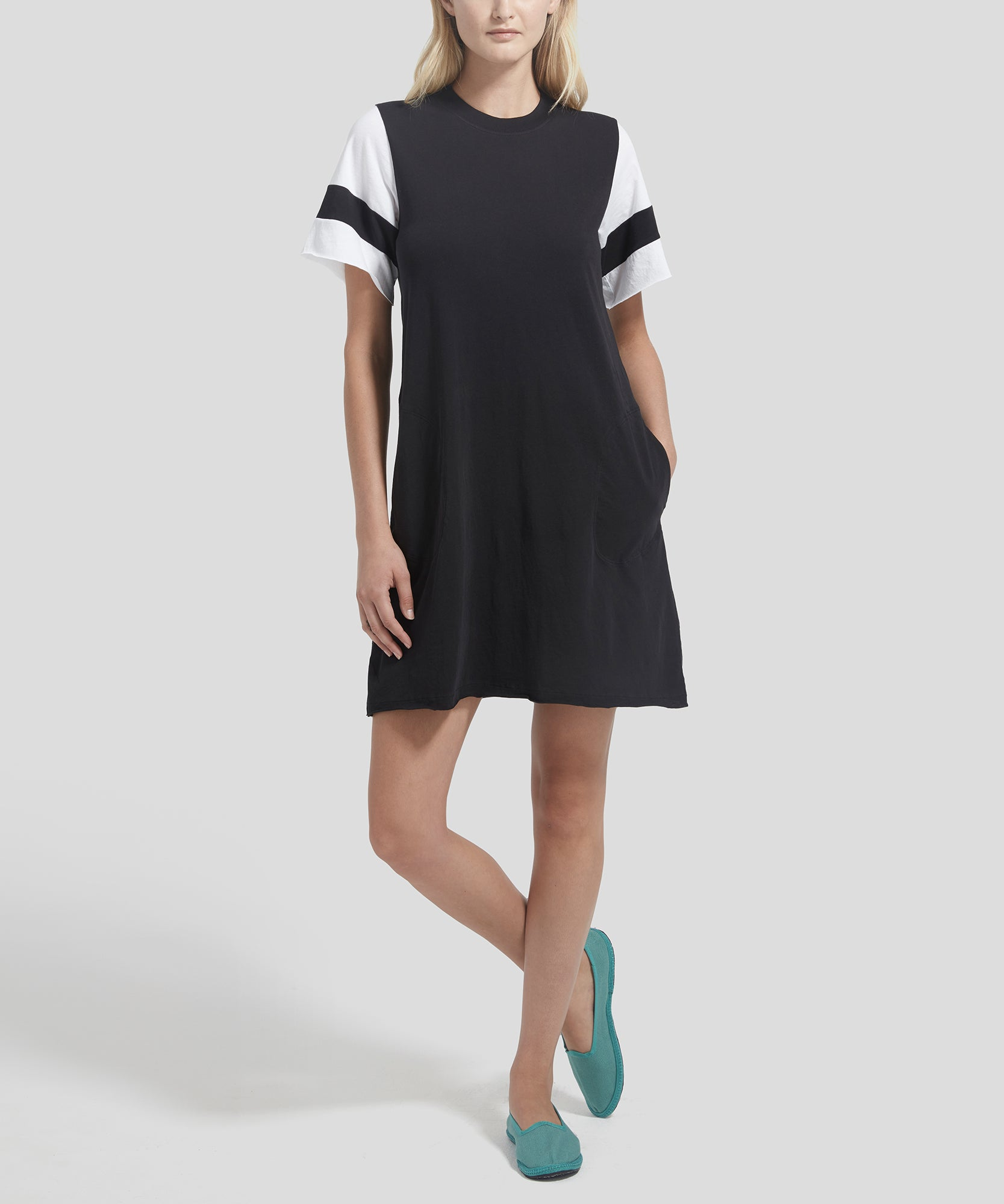 ATM Classic Jersey Striped Sleeve Crew Neck Dress