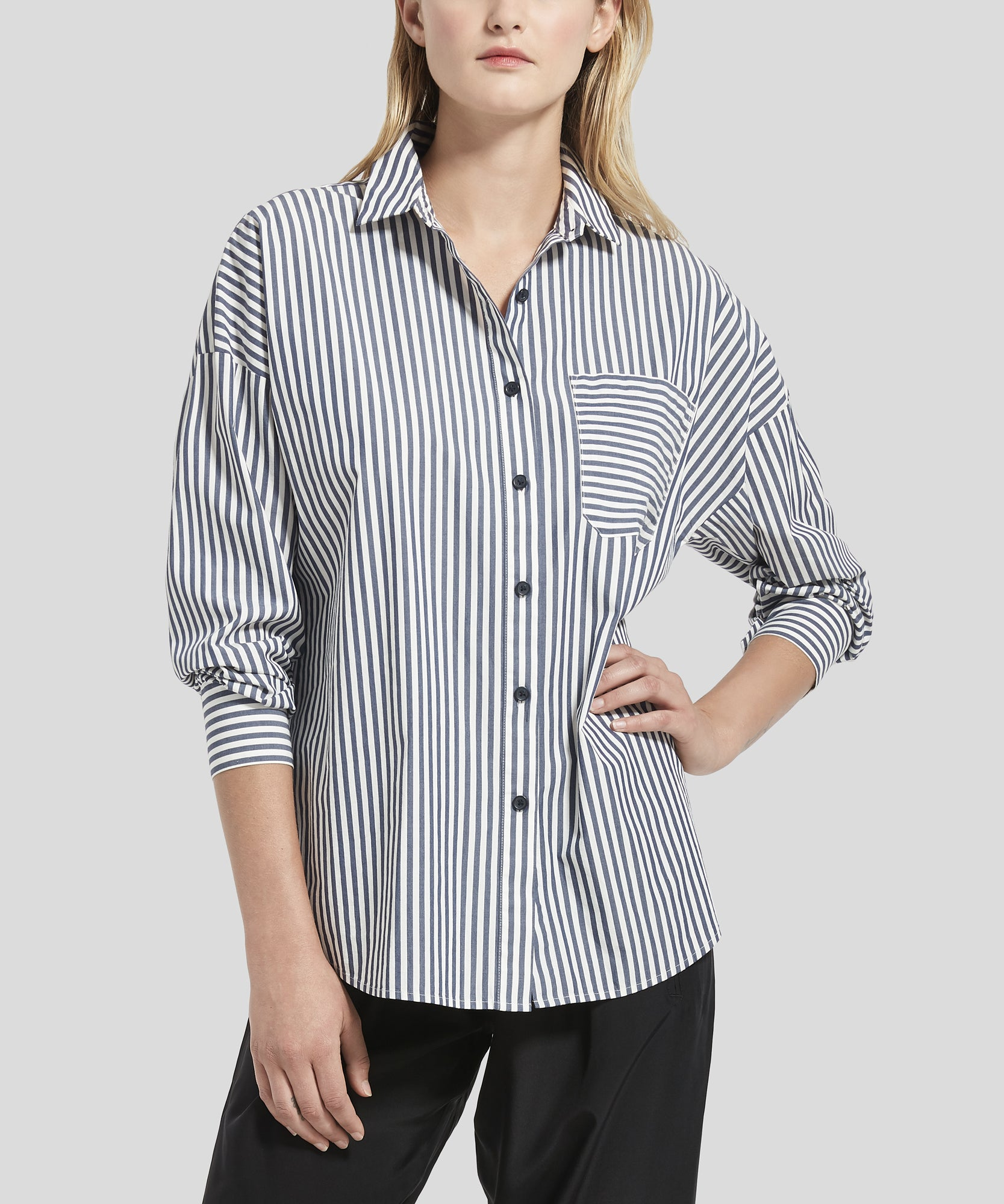 ATM Railroad Stripe Boyfriend Shirt