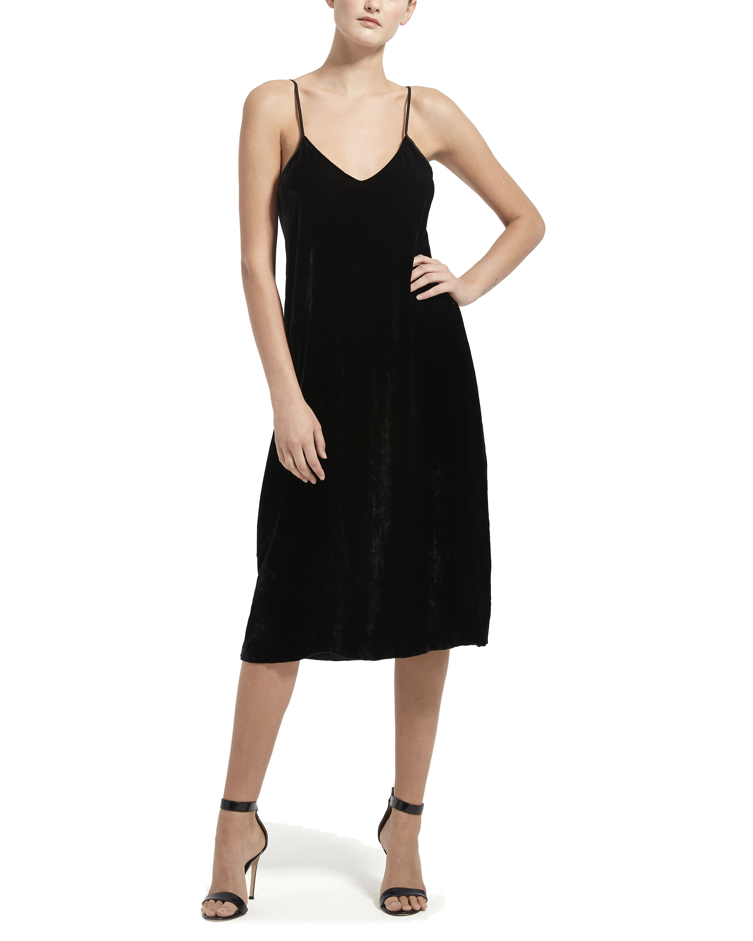ATM Drapey Velvet Slip Dress
