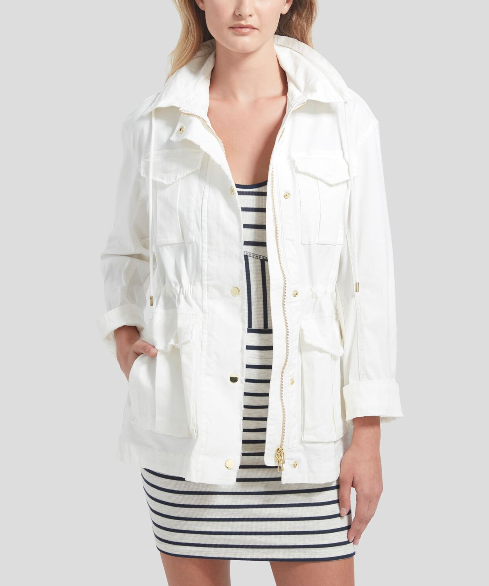 White Field Jacket - Women's Luxe Jacket by ATM Anthony Thomas Melillo