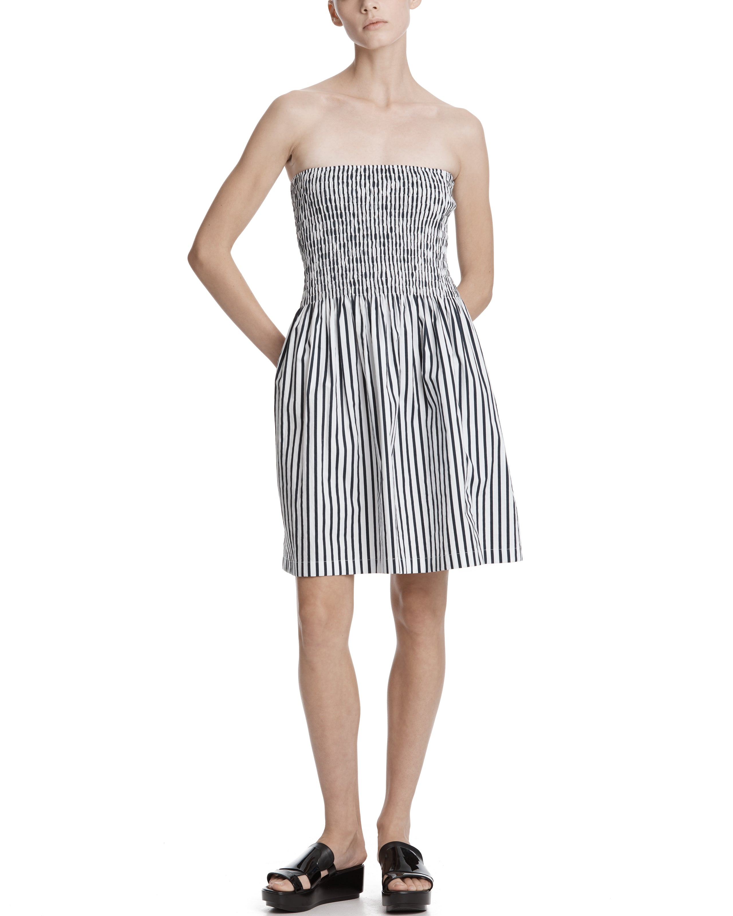 ATM Cotton Striped Ruched Dress