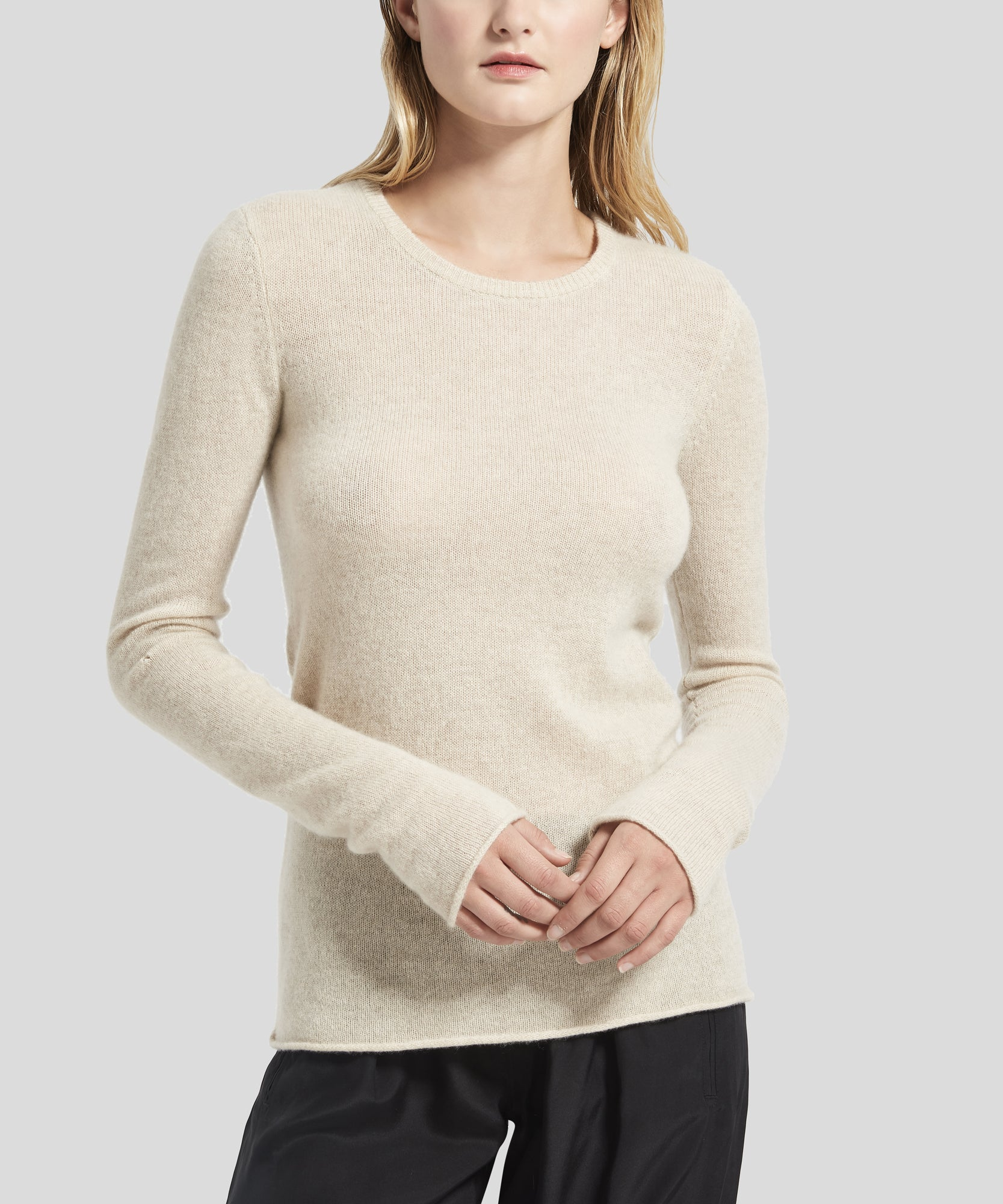 ATM Oatmeal Cashmere Crew Neck Sweater