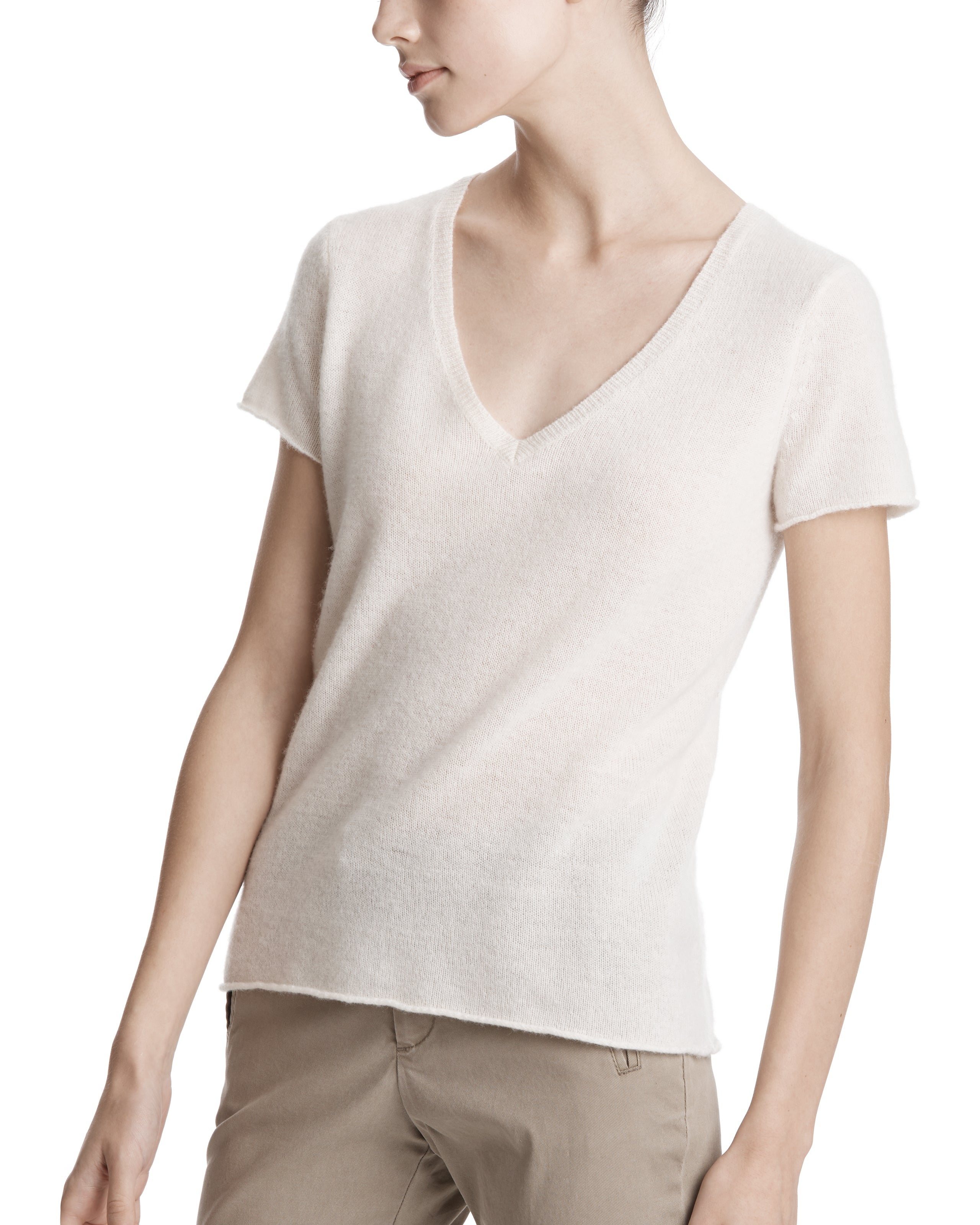 ATM Cashmere Short Sleeve V-Neck Sweater