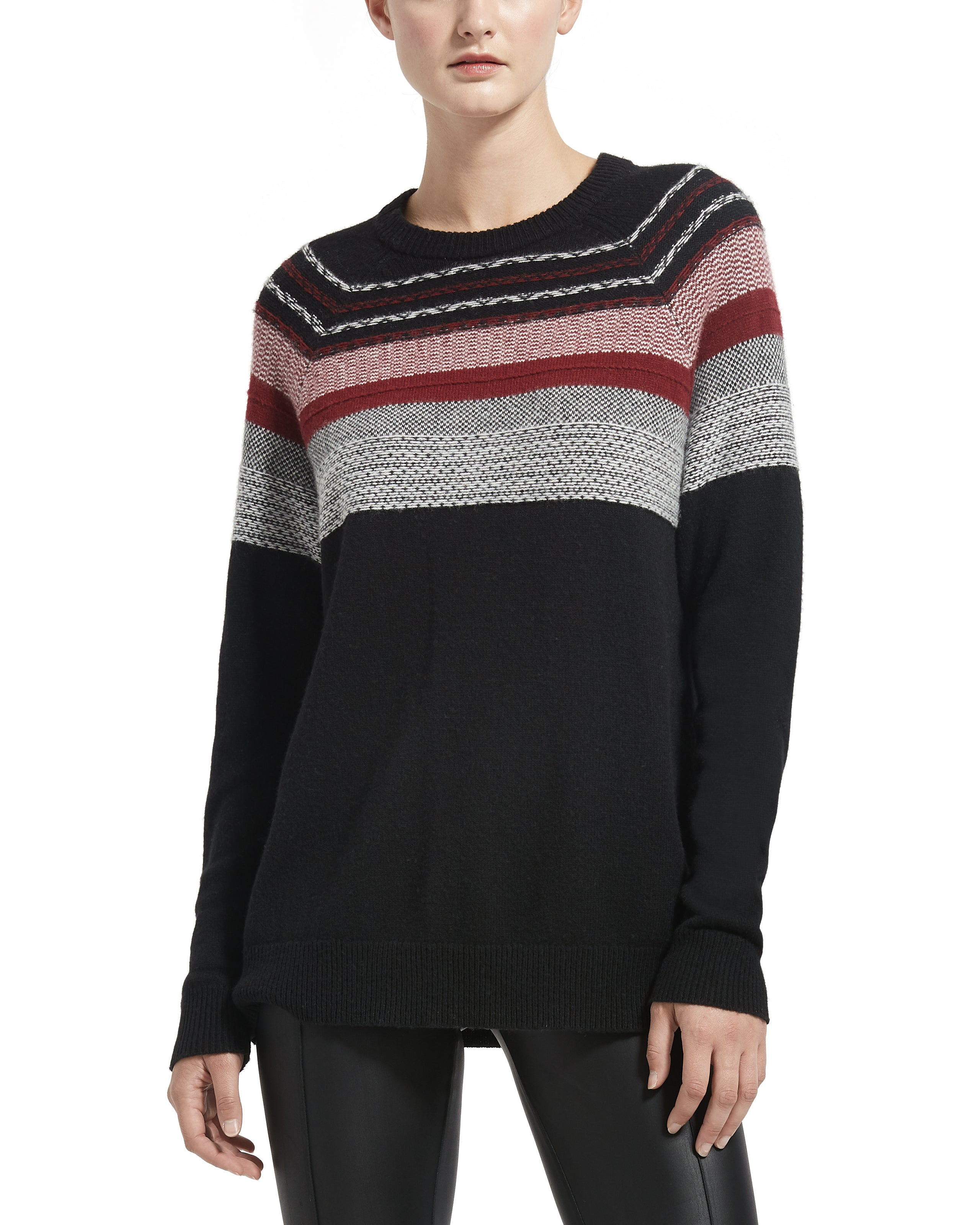 ATM Merino Wool Fair Isle Crew Neck Sweater