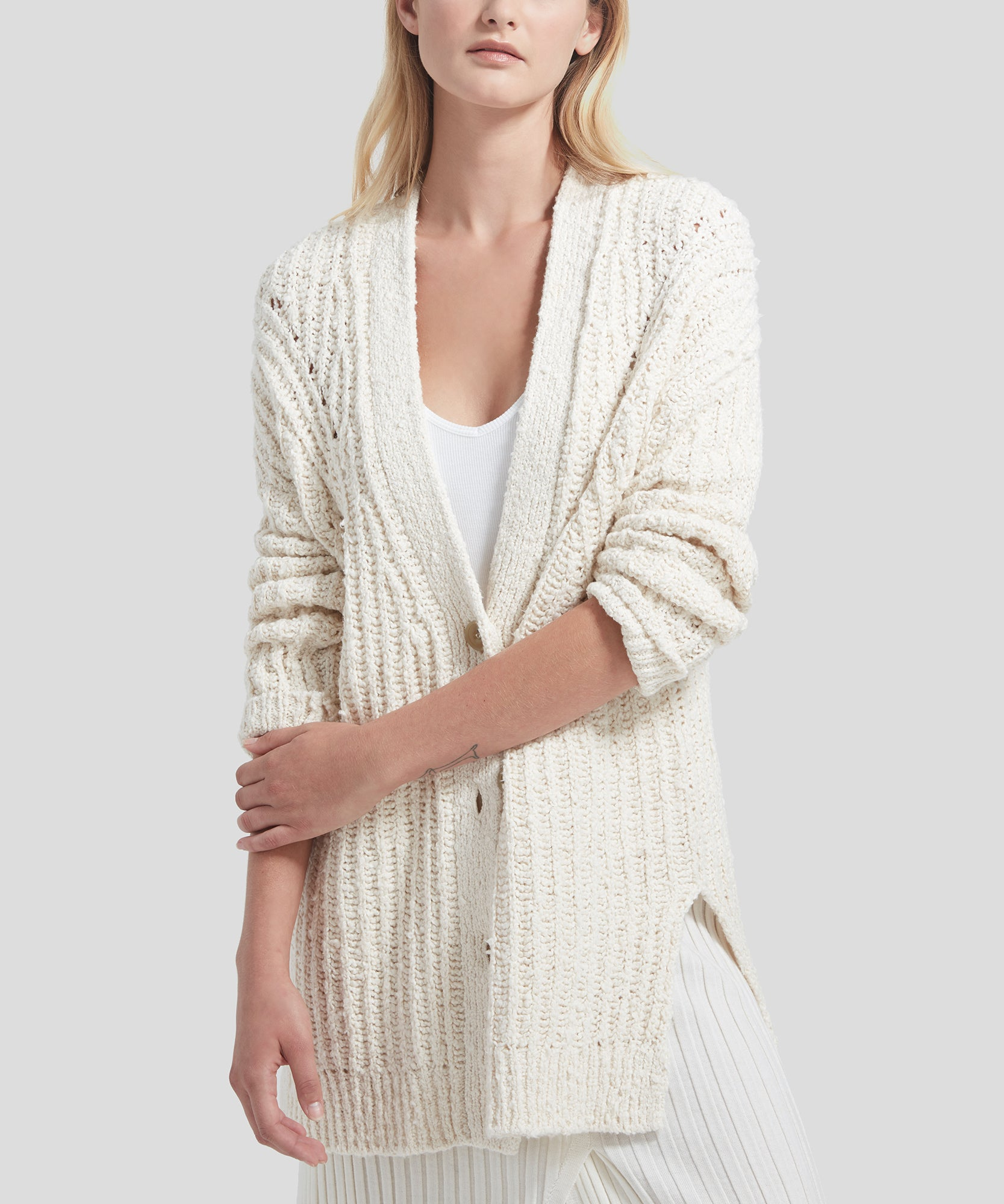ATM Chunky Knit Grandfather Cardigan