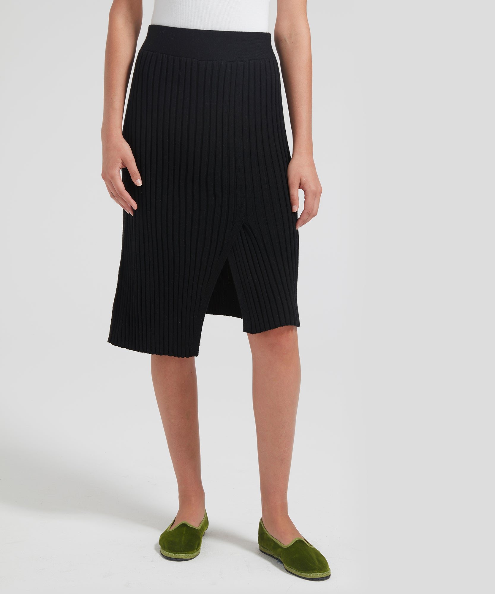 ATM Merino Wool Ribbed Pull-On Skirt