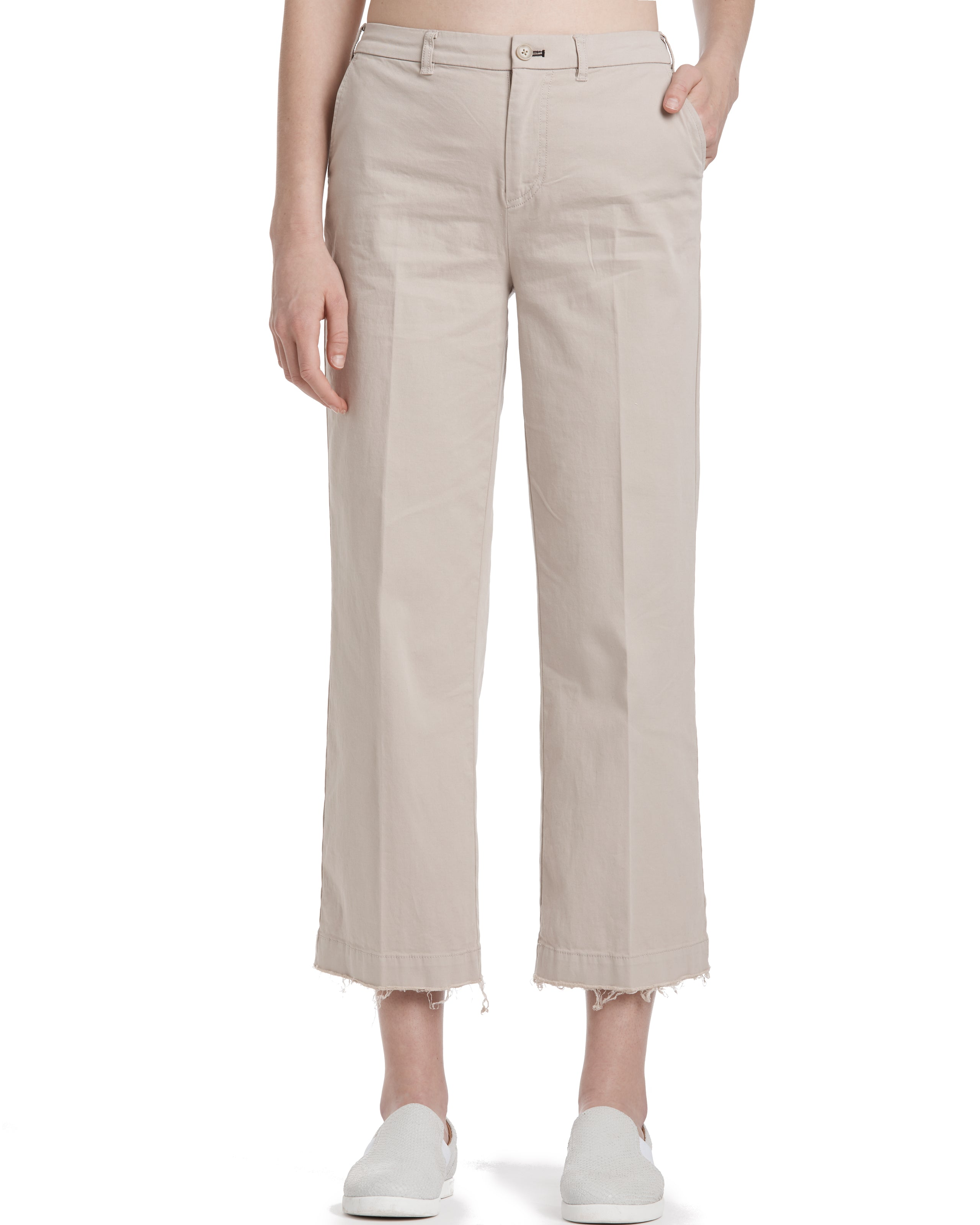 ATM Stretch Cotton Cropped Raw Cut Pants