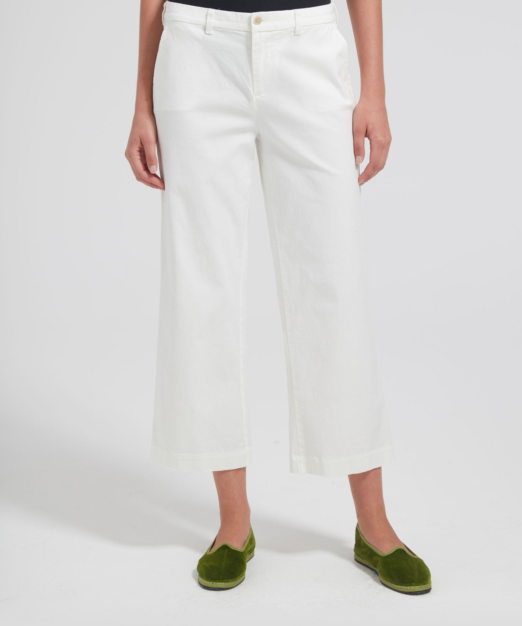 White Cropped Boyfriend Garment Wash Pants - Women's Casual Pants by ATM Anthony Thomas Melillo