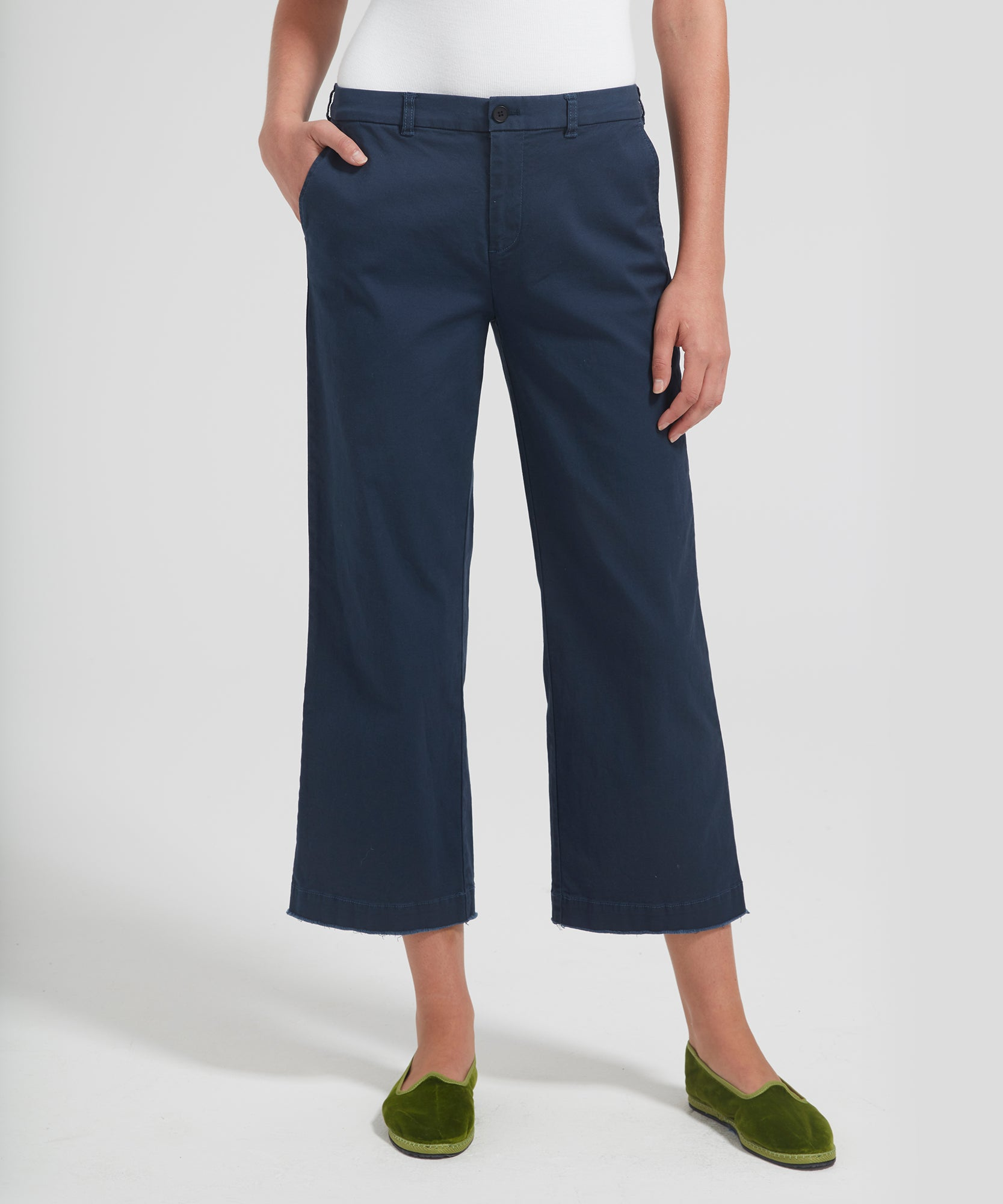 Dark Navy Cropped Boyfriend Garment Wash Pants - Women's Casual Pants by ATM Anthony Thomas Melillo
