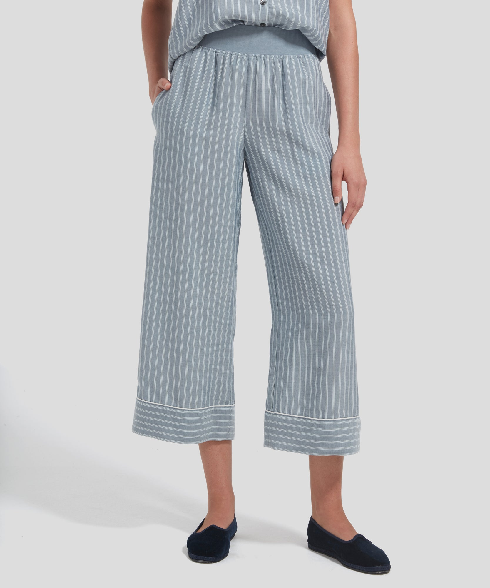 ATM Striped Linen Pull-On Pants