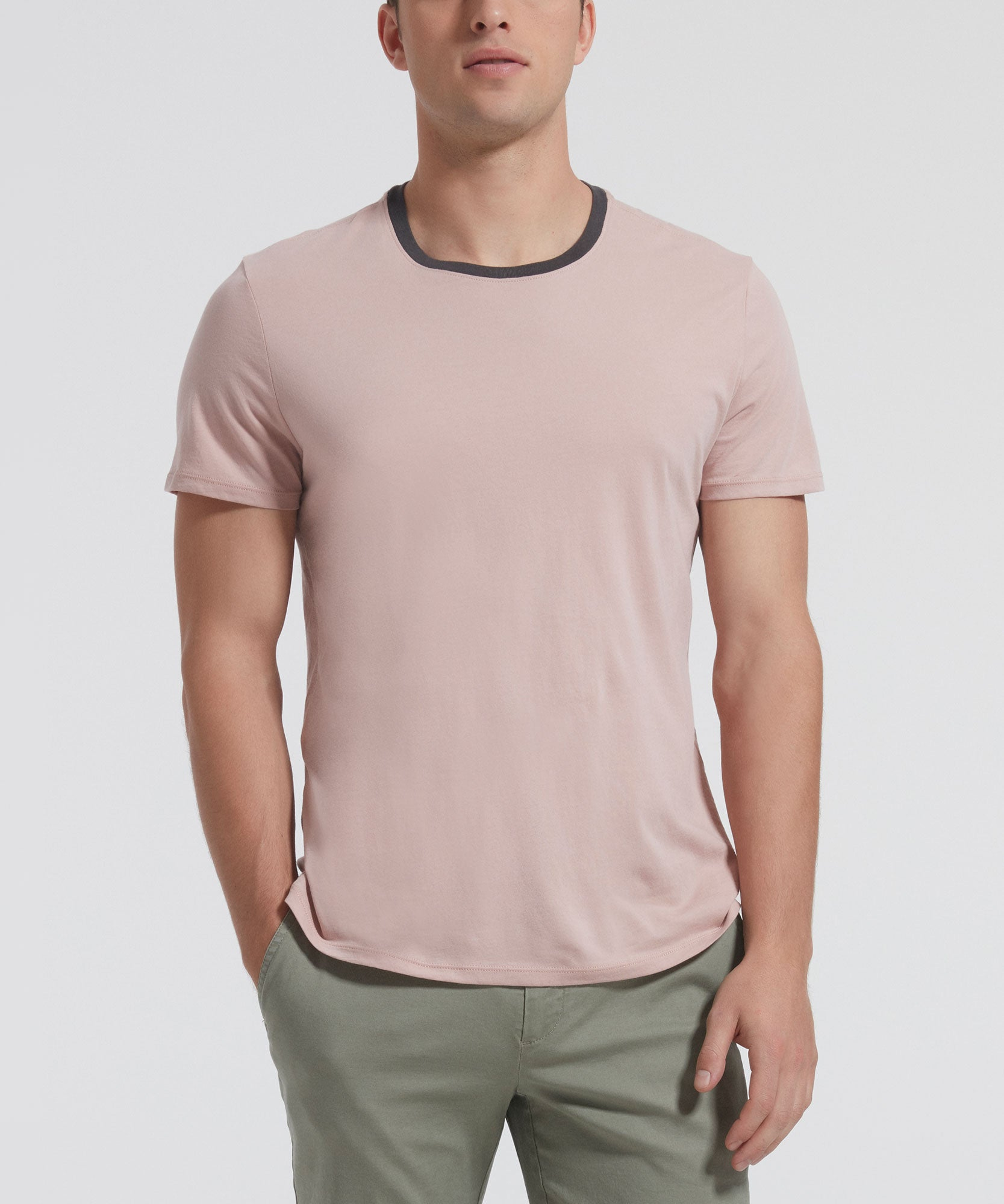 Adobe Classic Jersey Contrast Band Crew Neck Tee - Men's Luxe Cotton Tee by ATM Anthony Thomas Melillo