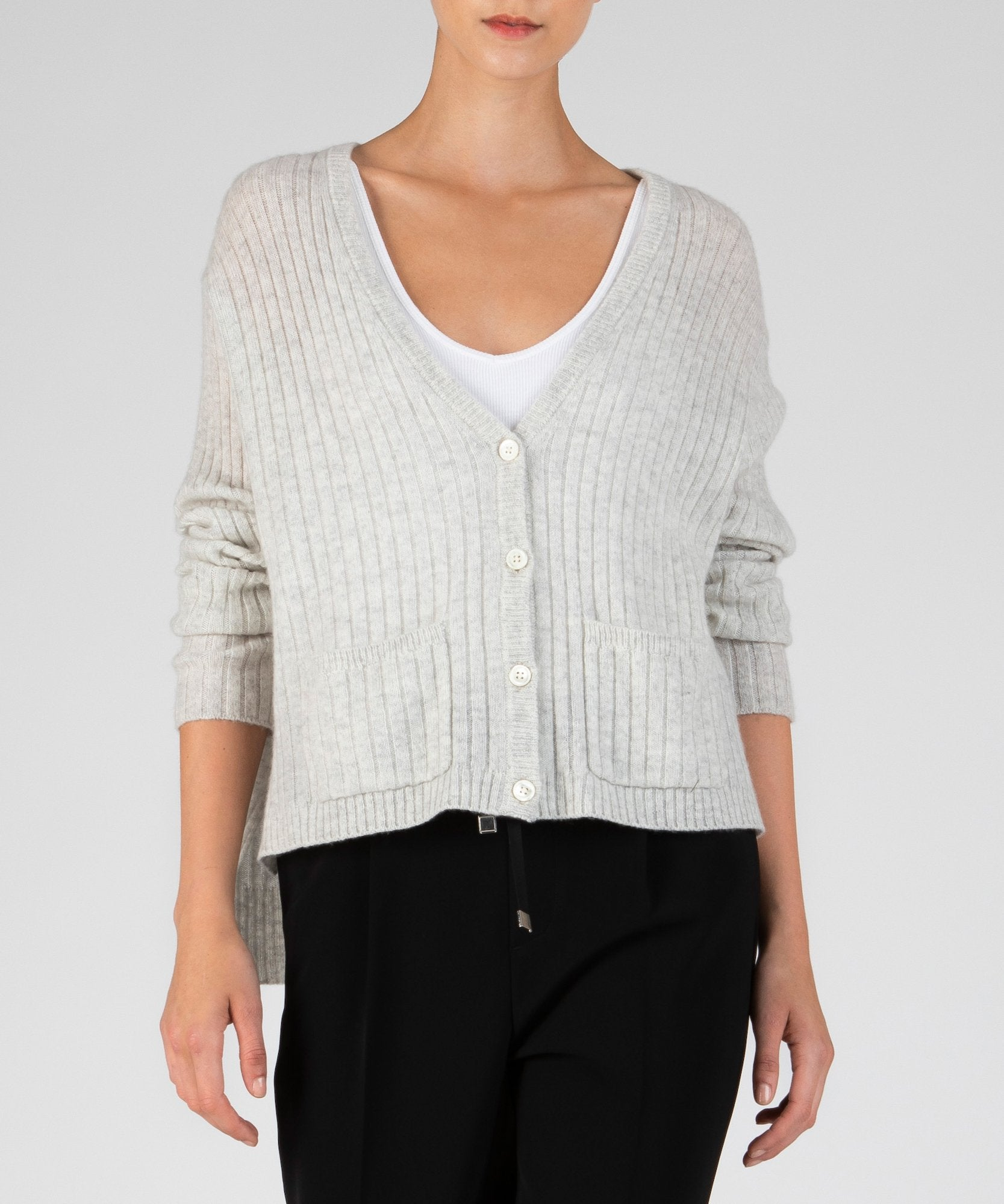 Alabaster Cashmere Deep V-Neck Cardigan - Women's Luxe Sweater by ATM Anthony Thomas Melillo