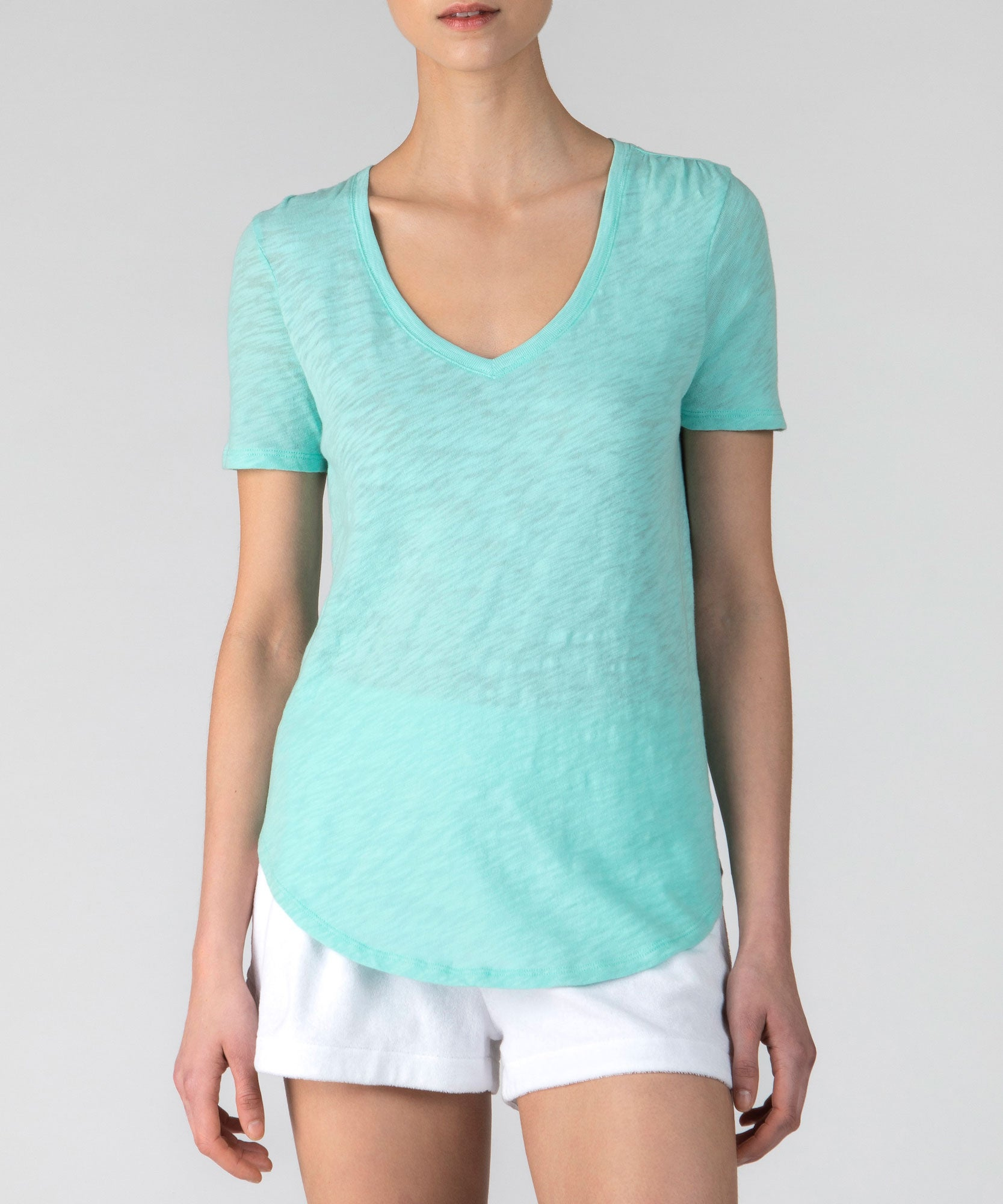 Aqua Slub Jersey Classic V-Neck Tee - Women's Cotton Short Sleeve Tee by ATM Anthony Thomas Melillo