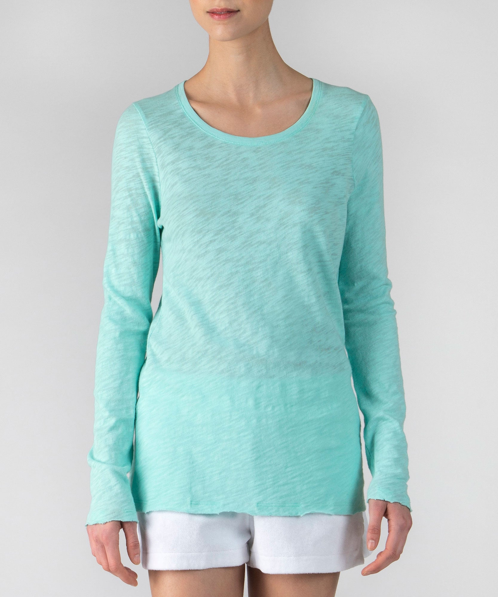 Aqua Slub Jersey Long Sleeve Destroyed Wash Tee - Women's Cotton Long Sleeve Tee by ATM Anthony Thomas Melillo