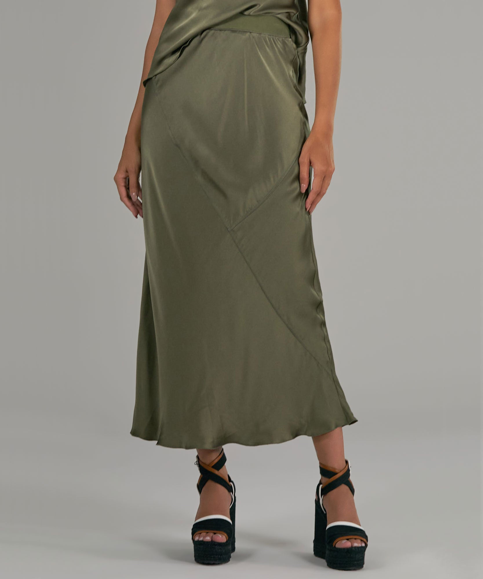 Army Silk Ankle Length Skirt - Women's Skirt by ATM Anthony Thomas Melillo