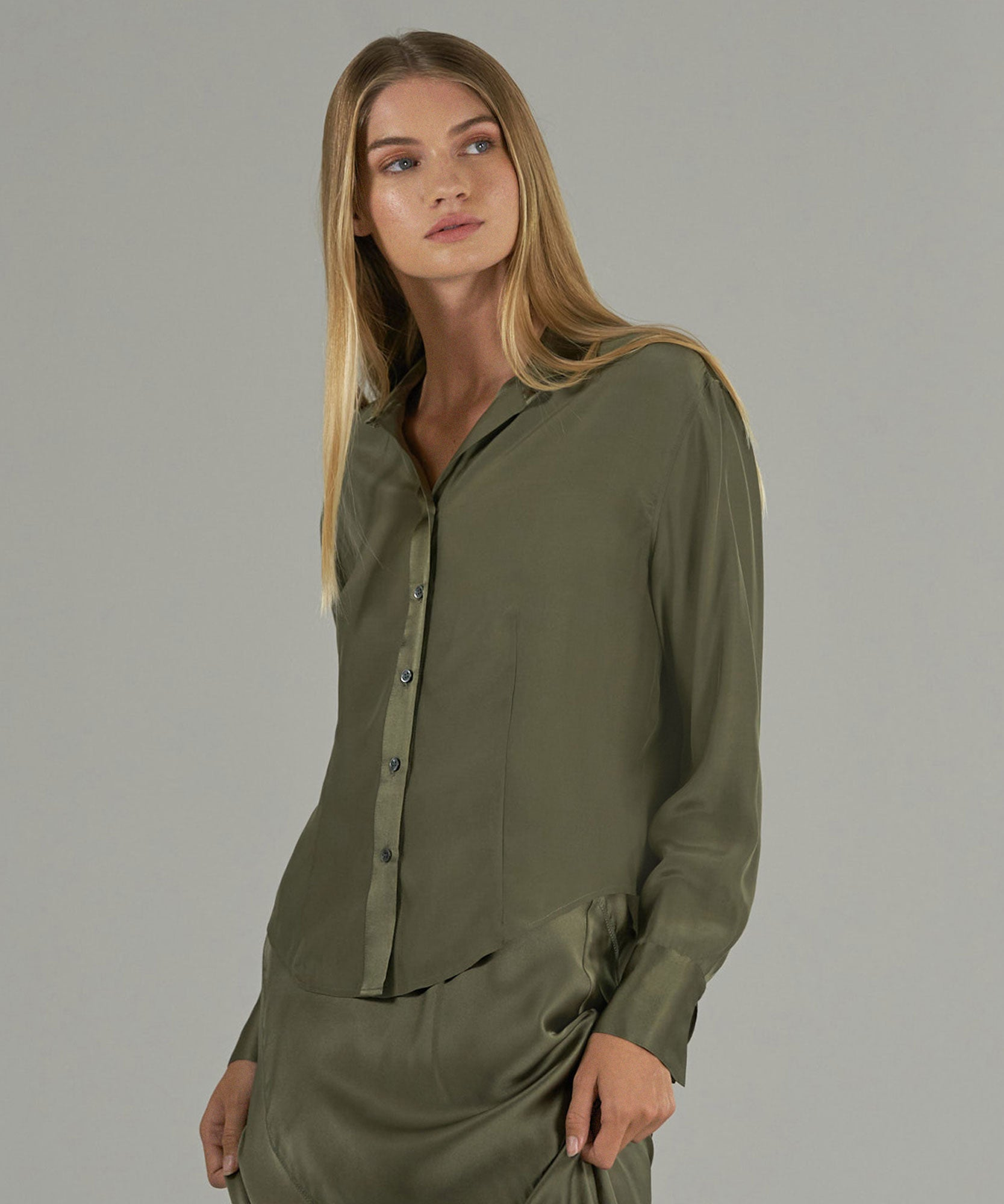 Army Silk Charmeuse Button Down - Women's Top by ATM Anthony Thomas Melillo