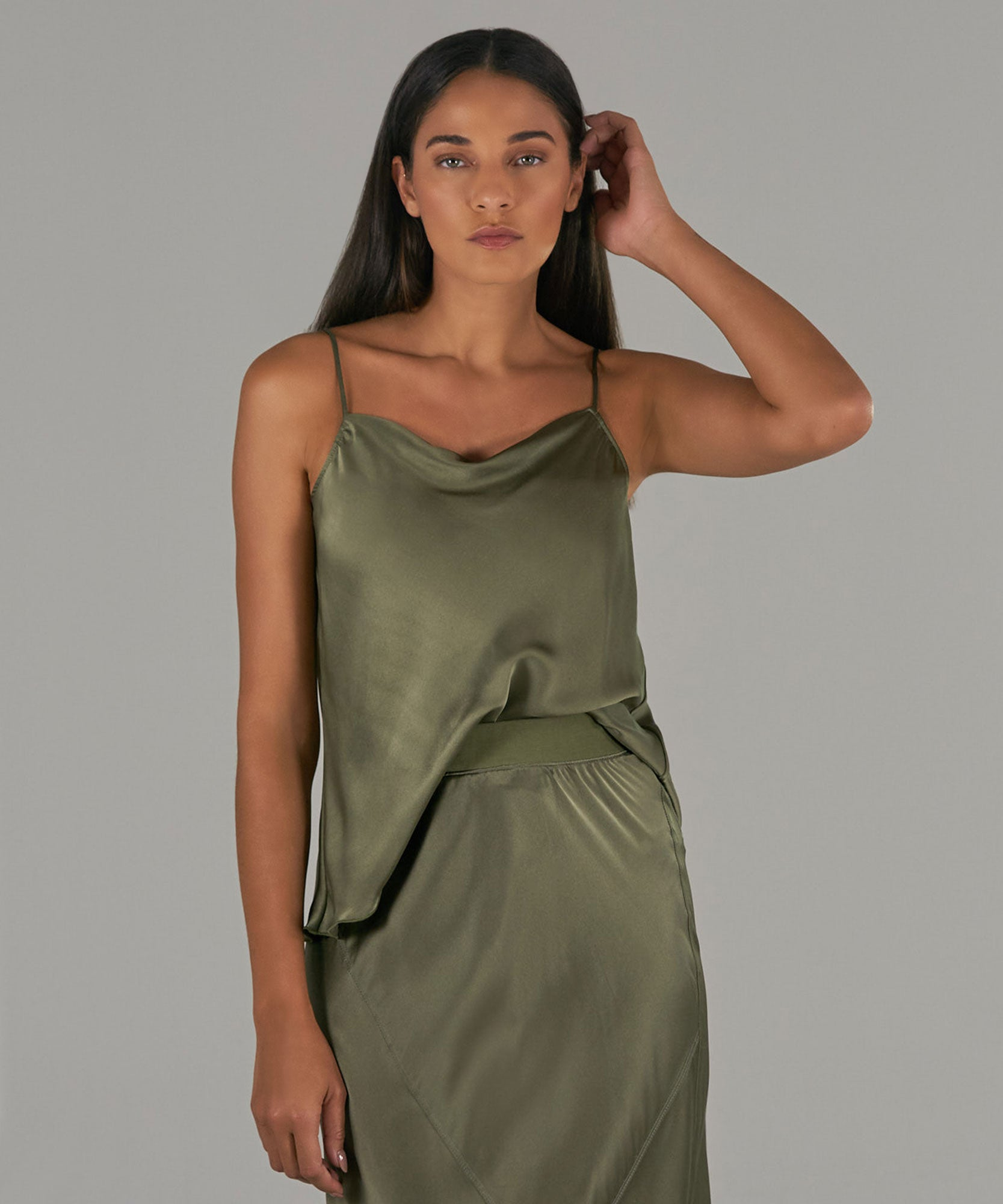Army Silk Charmeuse Cami - Women's Silk Top by ATM Anthony Thomas Melillo