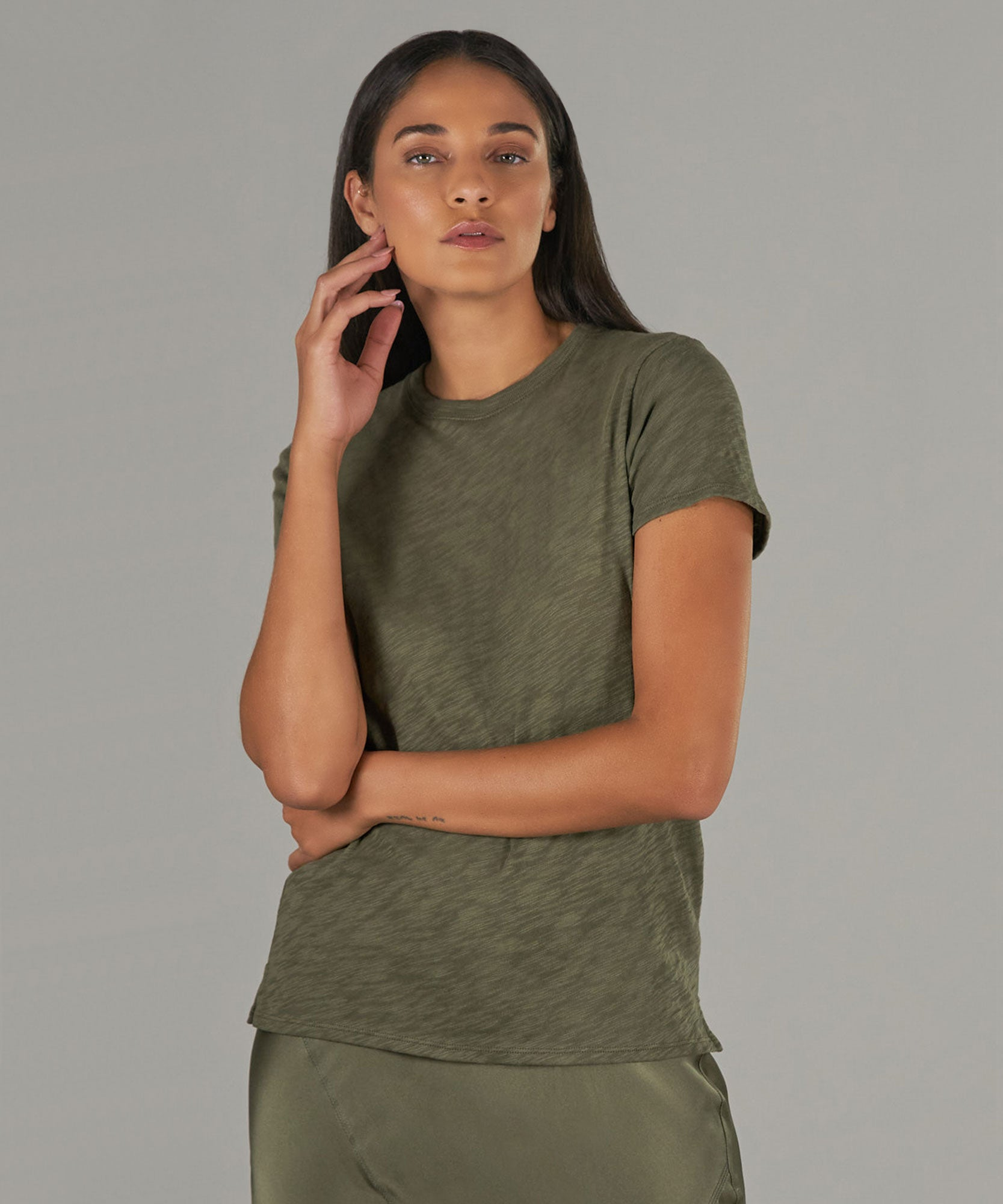 Army Slub Jersey Schoolboy Crew Neck Tee - Women's Short Sleeve T-Shirt by ATM Anthony Thomas Melillo