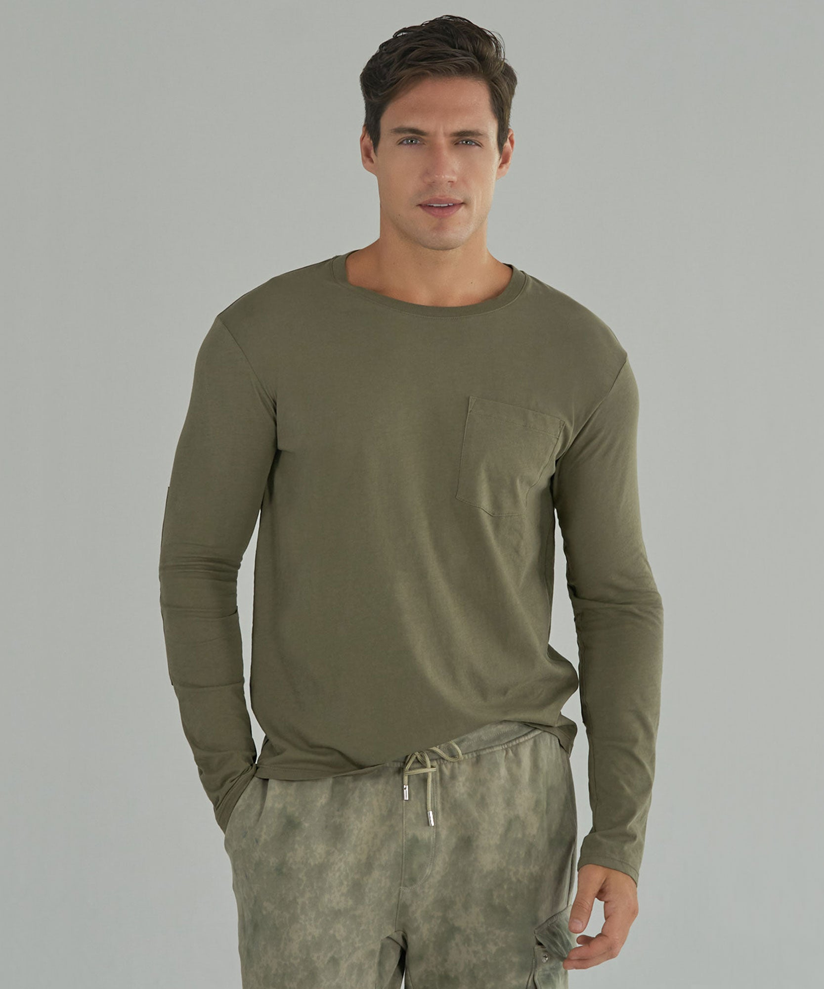 Army Combo Classic Jersey Long Sleeve Crew Neck Pocket Tee - Men's Long Sleeve T-Shirt by ATM Anthony Thomas Melillo