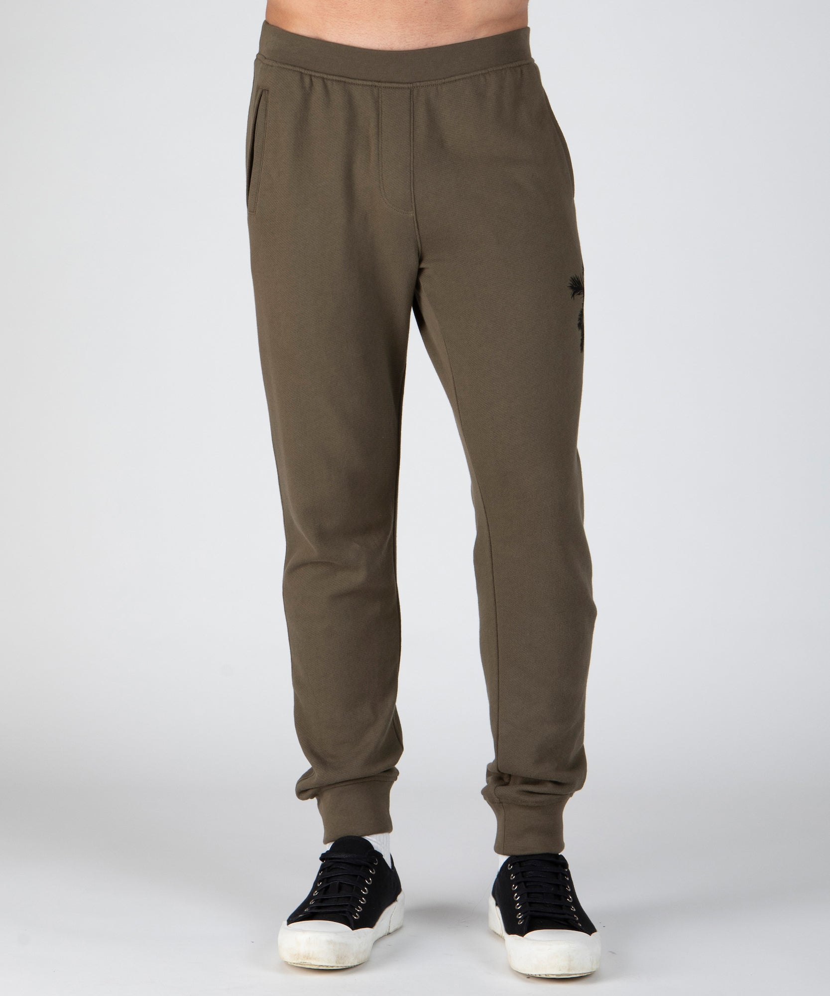 Army French Terry Palm Print Sweatpants - Men's Luxe Loungewear by ATM Anthony Thomas Melillo