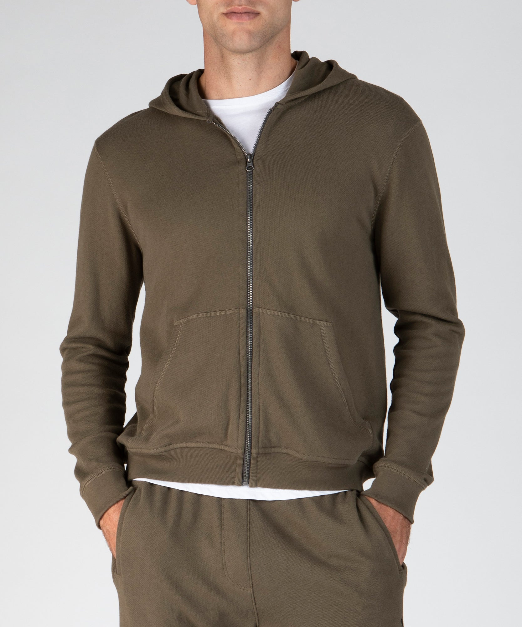 Army French Terry Palm Print Zip-Up Hoodie - Men's Luxe Loungewear by ATM Anthony Thomas Melillo