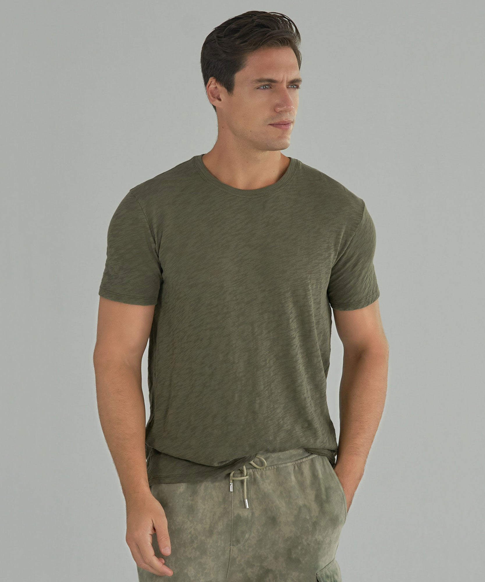 Army Slub Jersey Crew Neck Tee - Men's Short Sleeve T-Shirt by ATM Anthony Thomas Melillo