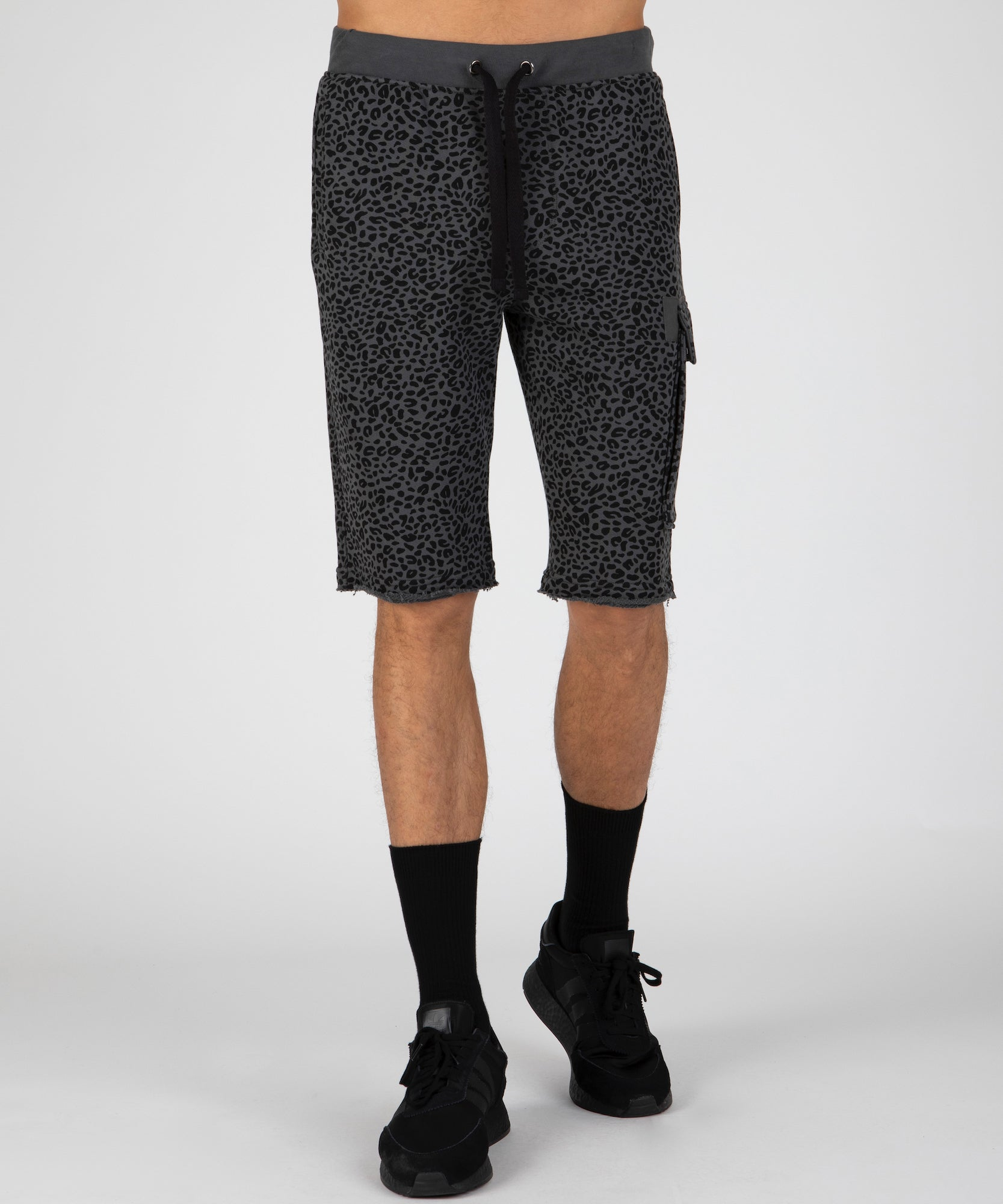 Asphalt and Black French Terry Mini Animal Print Shorts - Men's Luxe Loungewear by ATM Anthony Thomas Melillo