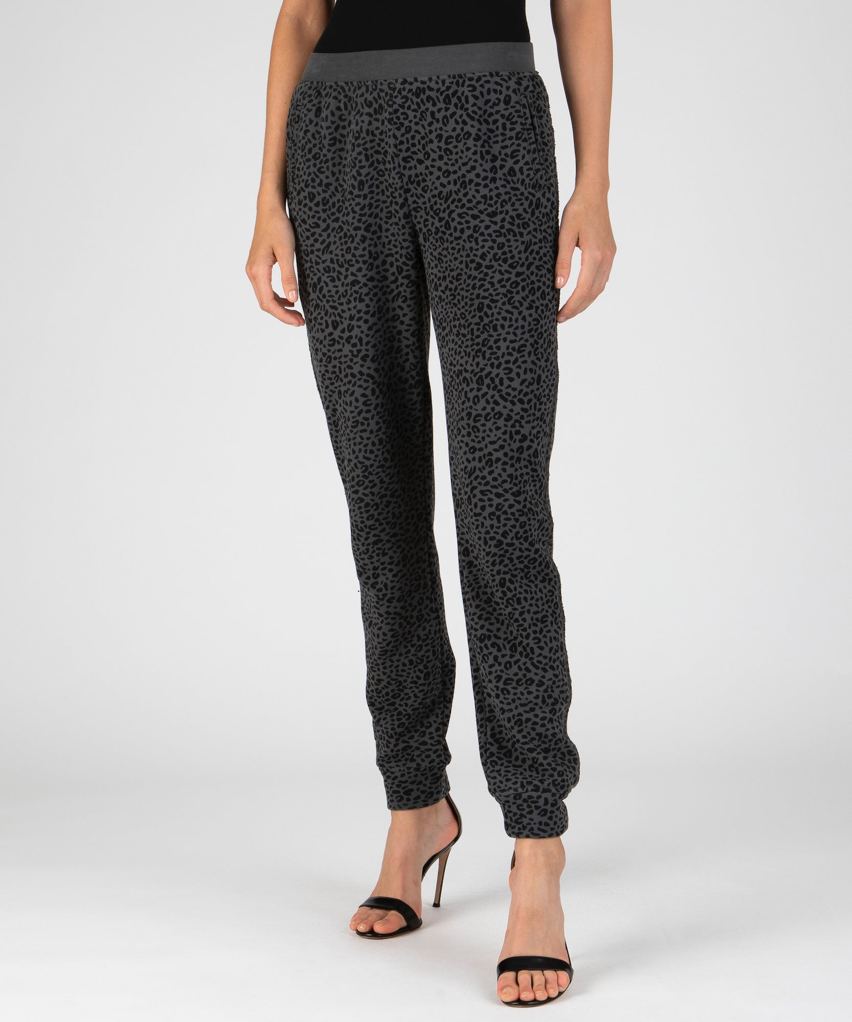 Asphalt and Black French Terry Mini Animal Print Sweatpants - Women's Luxe Loungewear by ATM Anthony Thomas Melillo