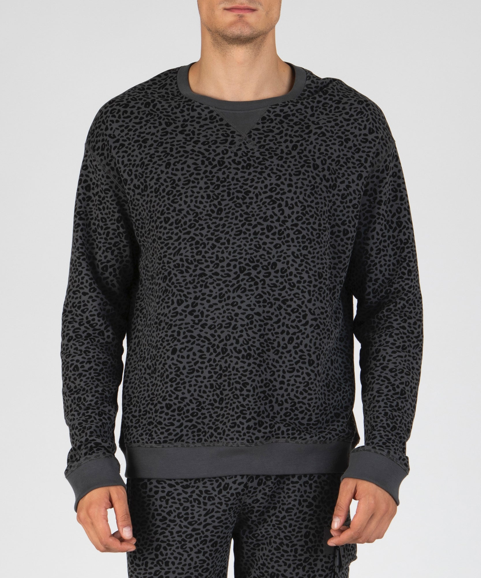 Asphalt and Black French Terry Mini Animal Print Sweatshirt - Men's Luxe Loungewear by ATM Anthony Thomas Melillo