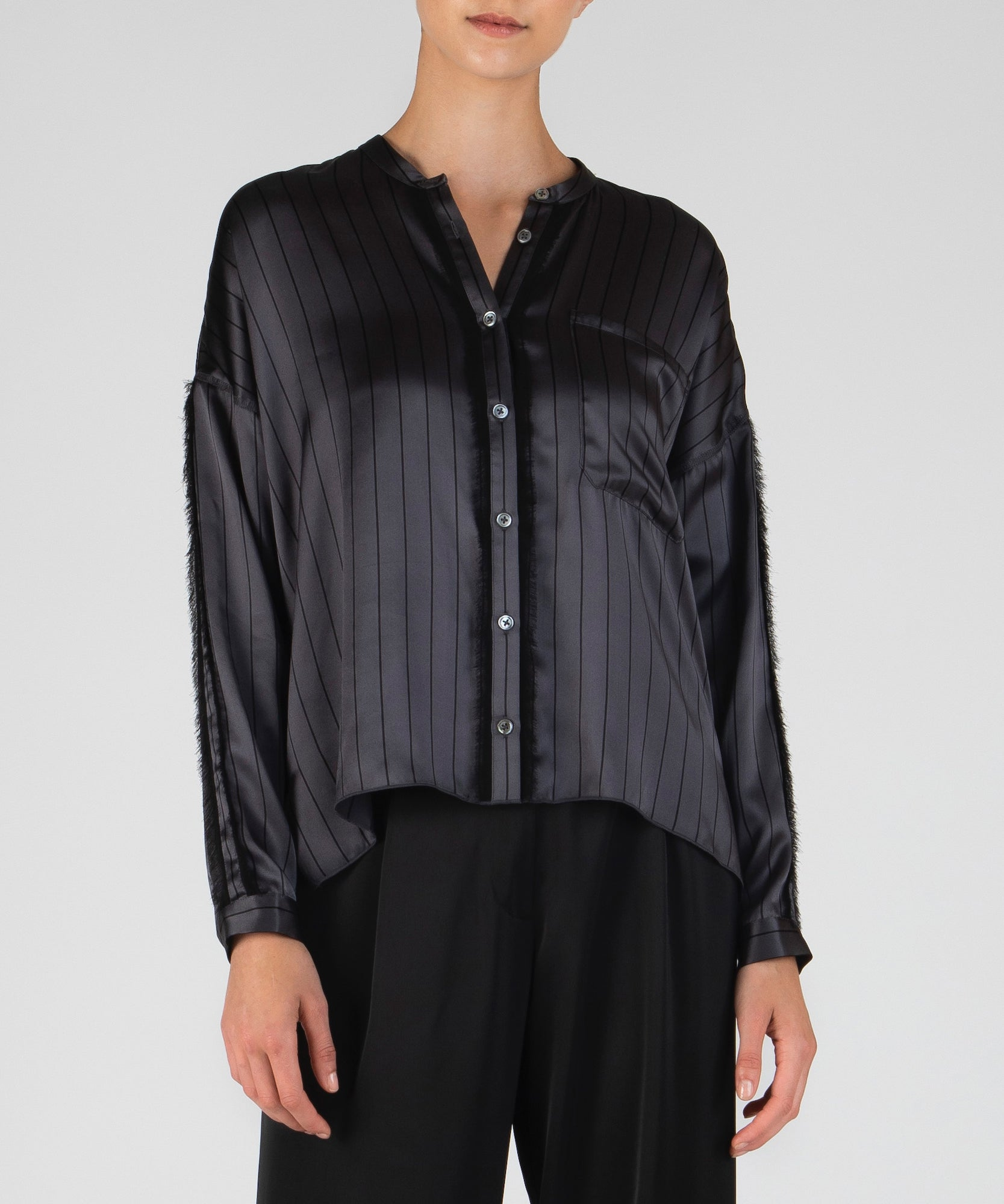 Asphalt and Black Striped Silk Shirt - Women's Blouse by ATM Anthony Thomas Melillo